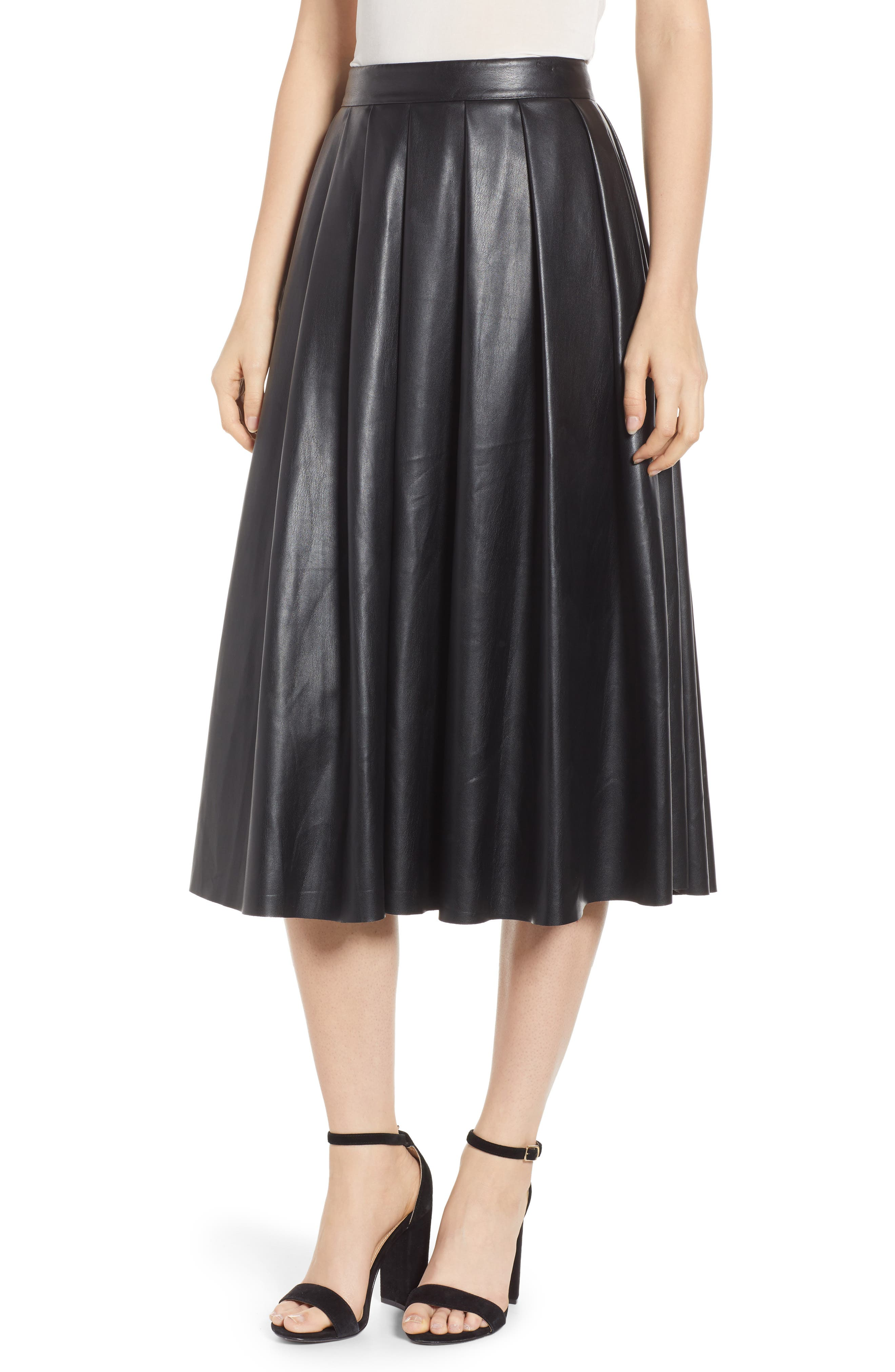 Pleated Faux-Leather Midi Skirt in Black