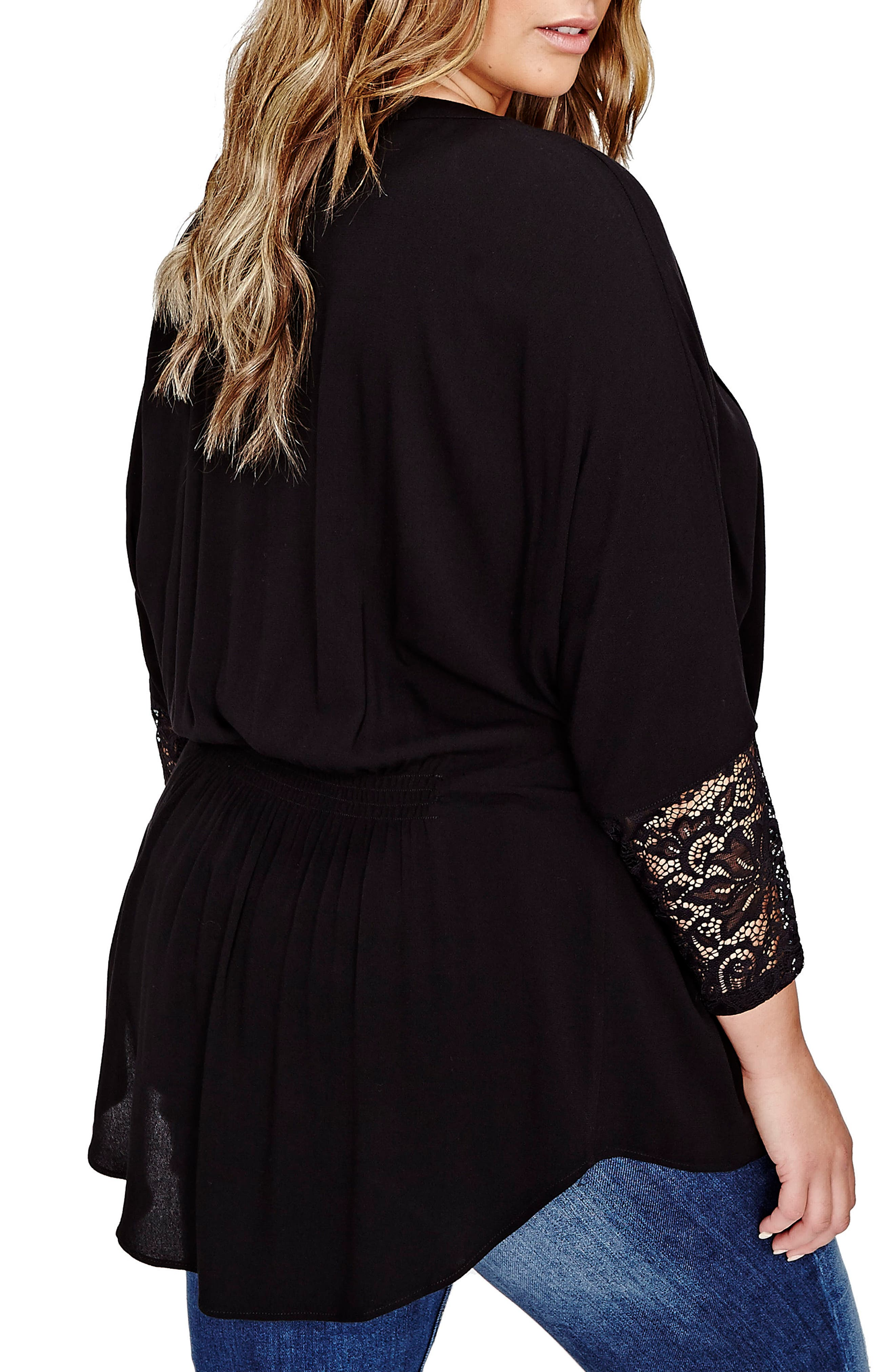 Pleated High/Low Dolman Blouse,                             Alternate thumbnail 2, color,                             001