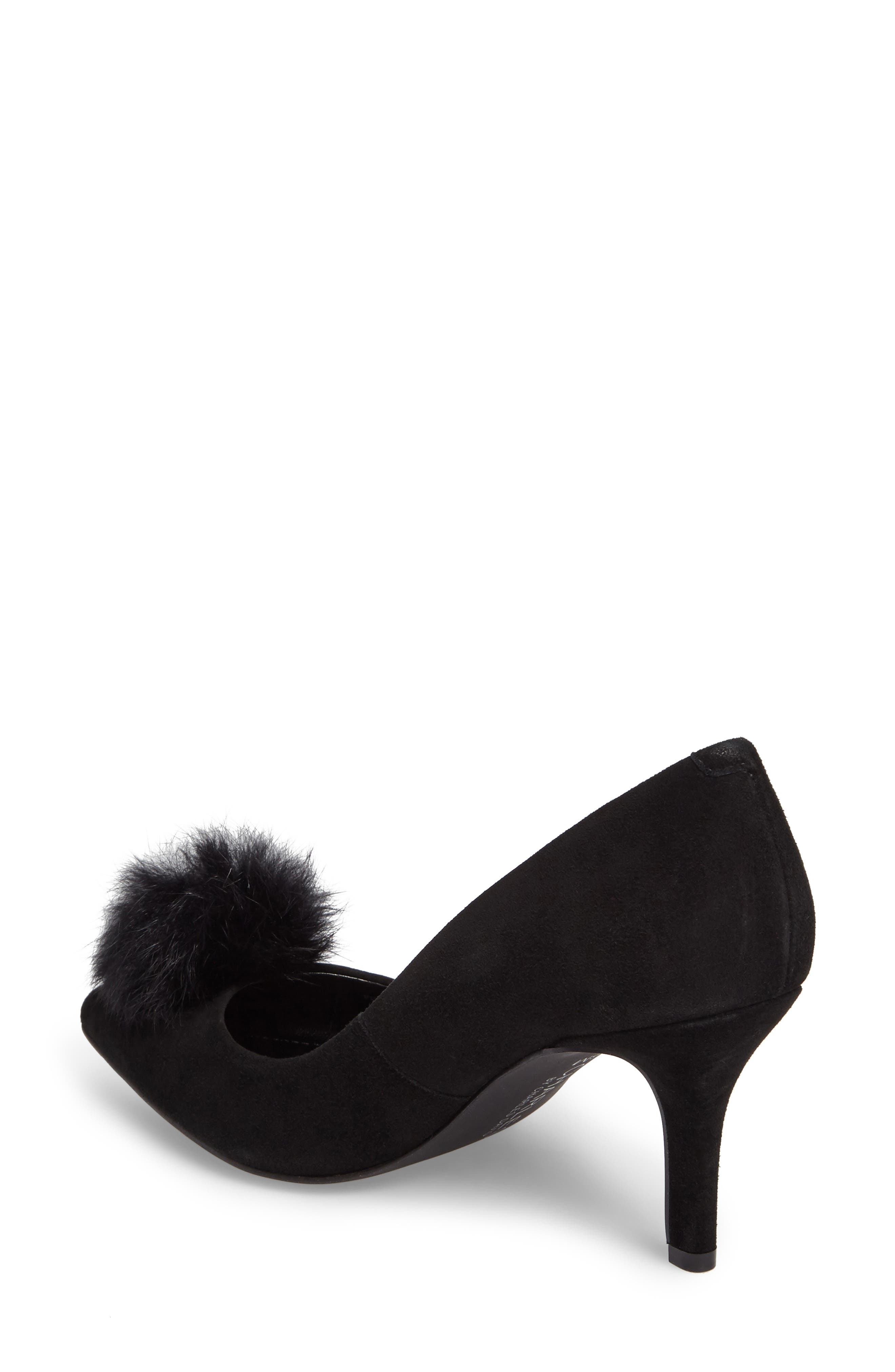 Sadie Genuine Rabbit Fur Pom Pump,                             Alternate thumbnail 2, color,                             001