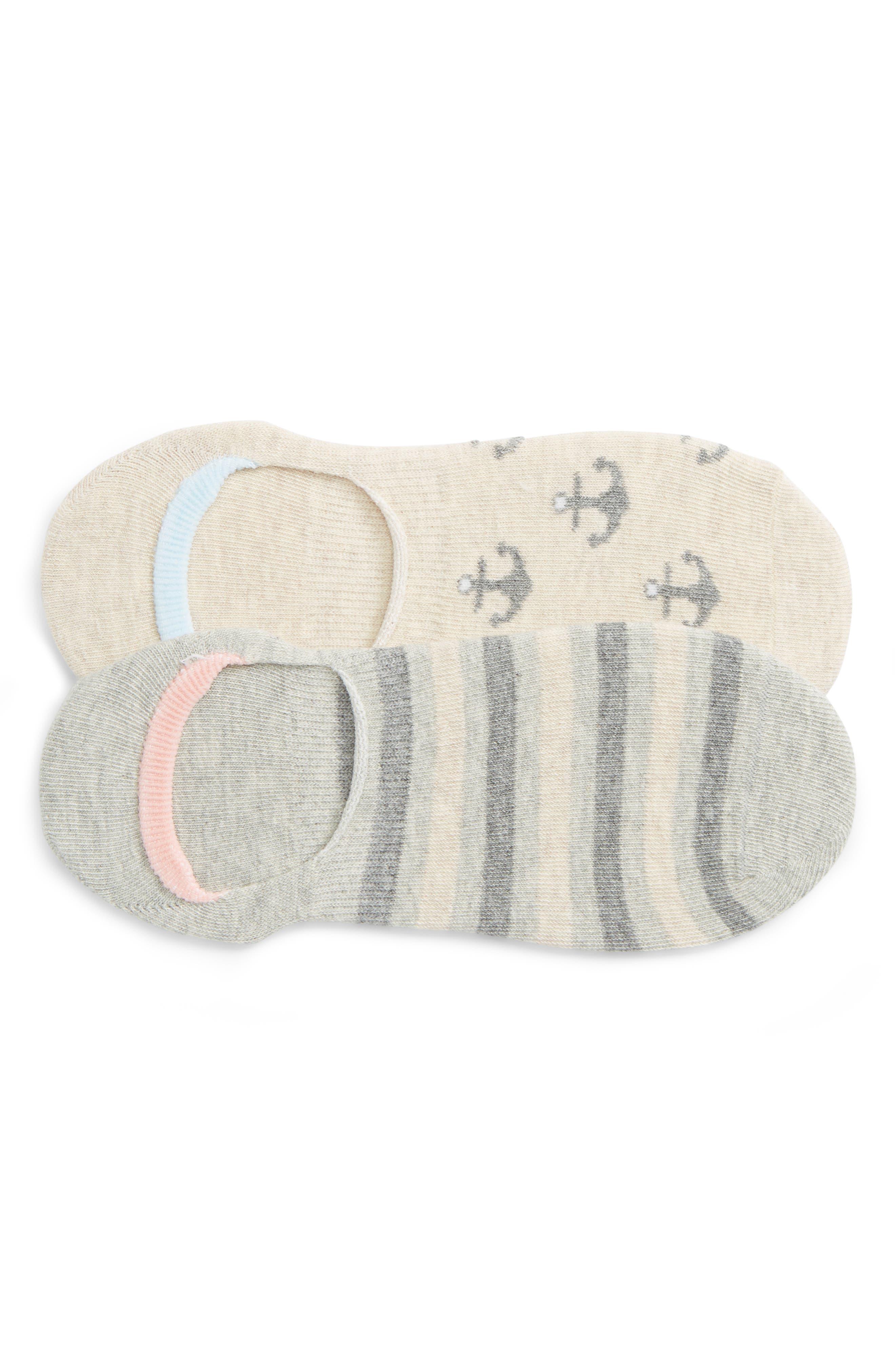 2-Pack Anchors Away No-Show Socks,                             Main thumbnail 2, color,