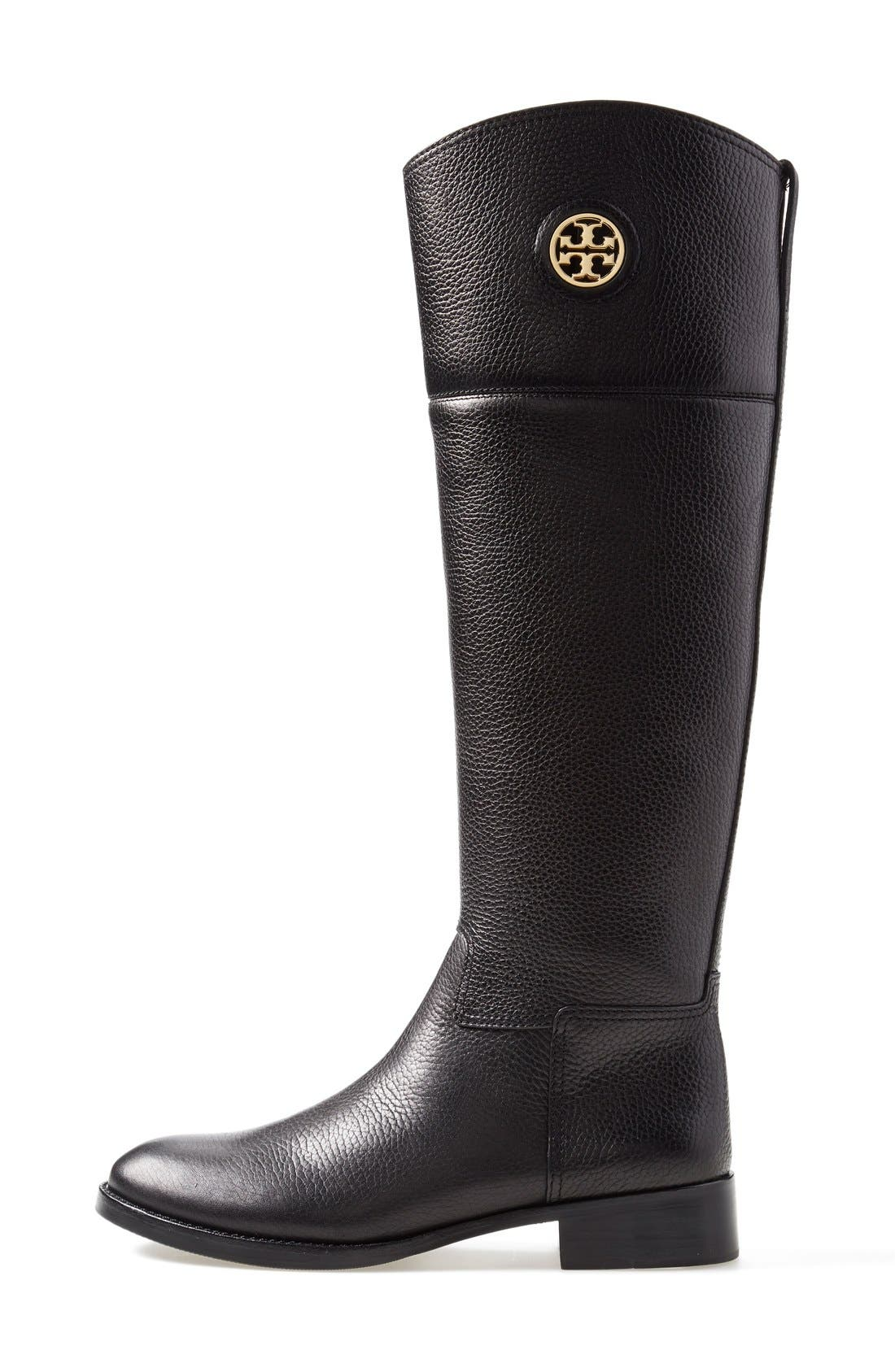 TORY BURCH,                             'Junction' Riding Boot,                             Alternate thumbnail 4, color,                             001
