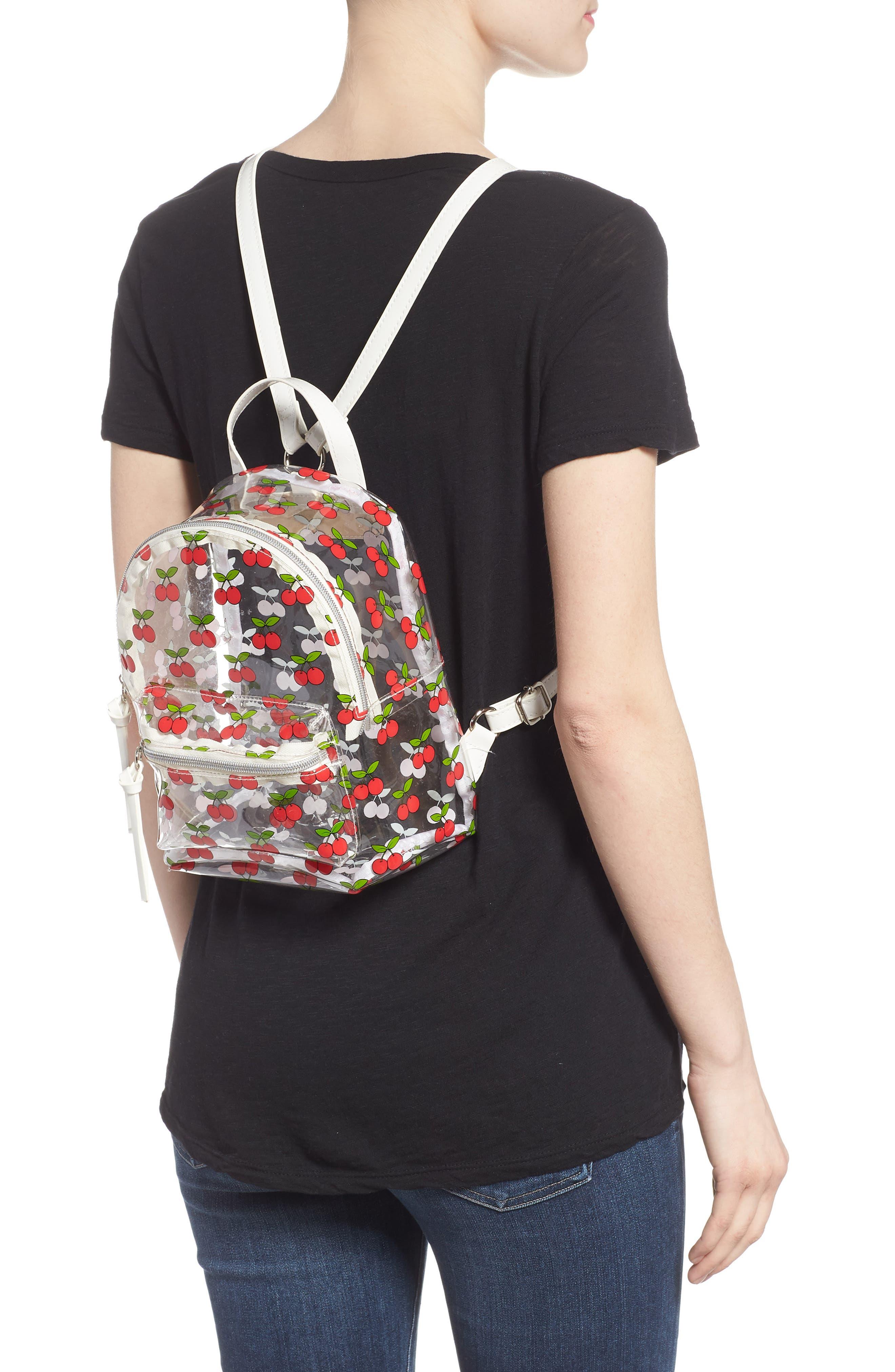 Transparent Cherry Print Mini Convertible Backpack,                             Alternate thumbnail 2, color,                             600
