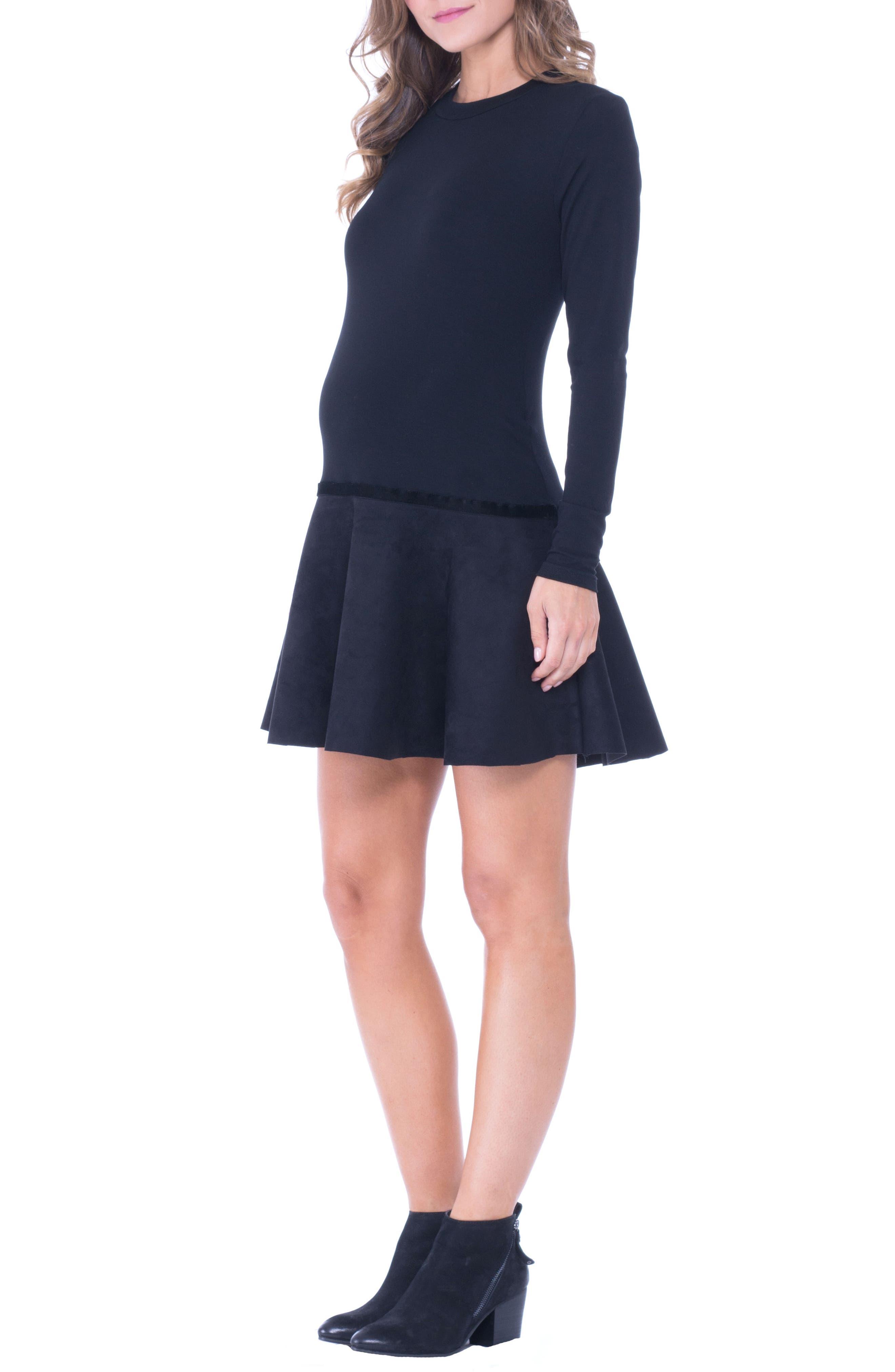 Faux Suede Skirt Maternity Skater Dress,                             Alternate thumbnail 3, color,                             BLACK