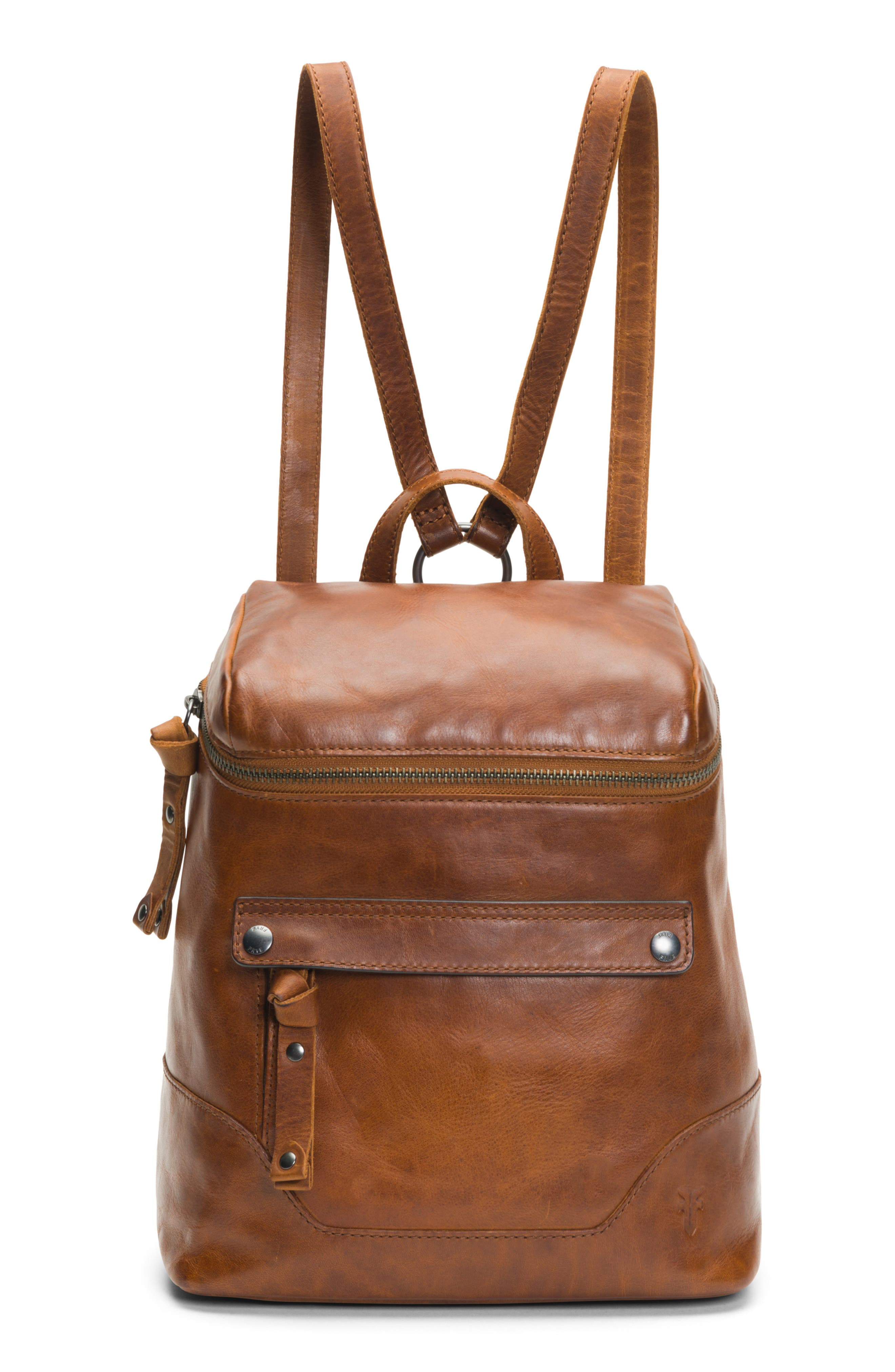 Melissa Leather Backpack,                         Main,                         color, COGNAC