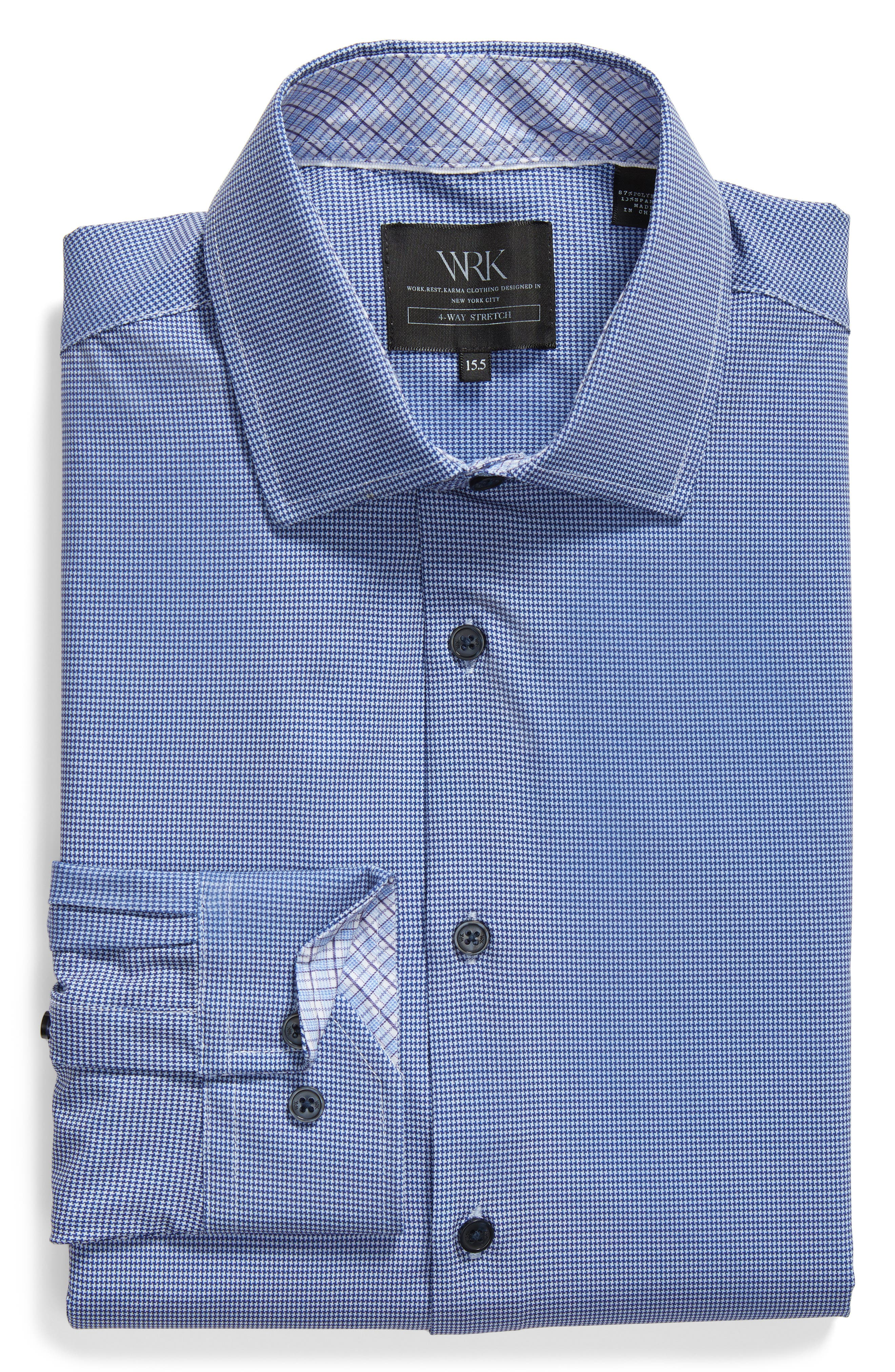 Trim Fit Houndstooth 4-Way Stretch Dress Shirt,                             Alternate thumbnail 5, color,                             NAVY
