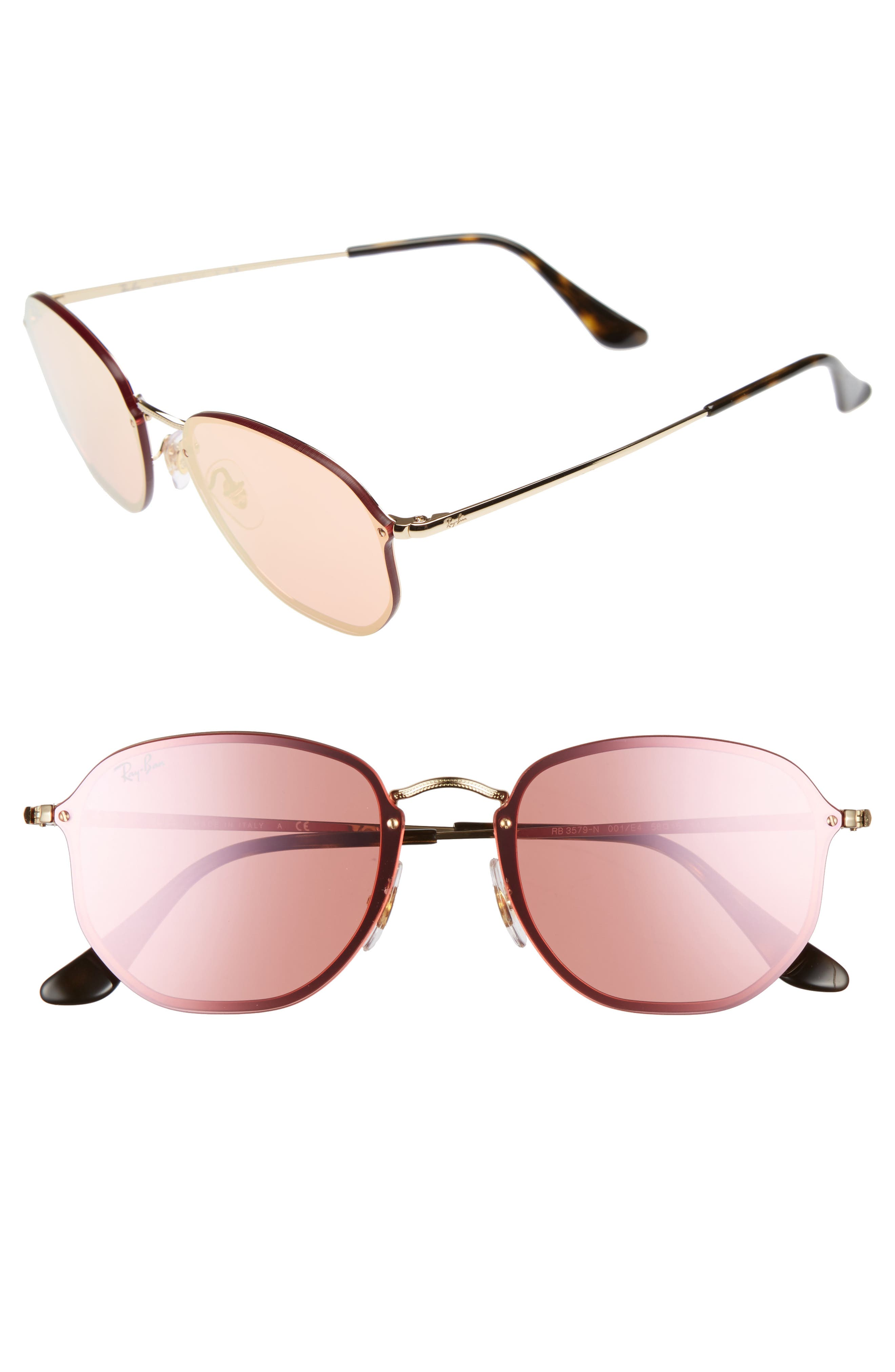 58mm Round Sunglasses,                             Main thumbnail 2, color,