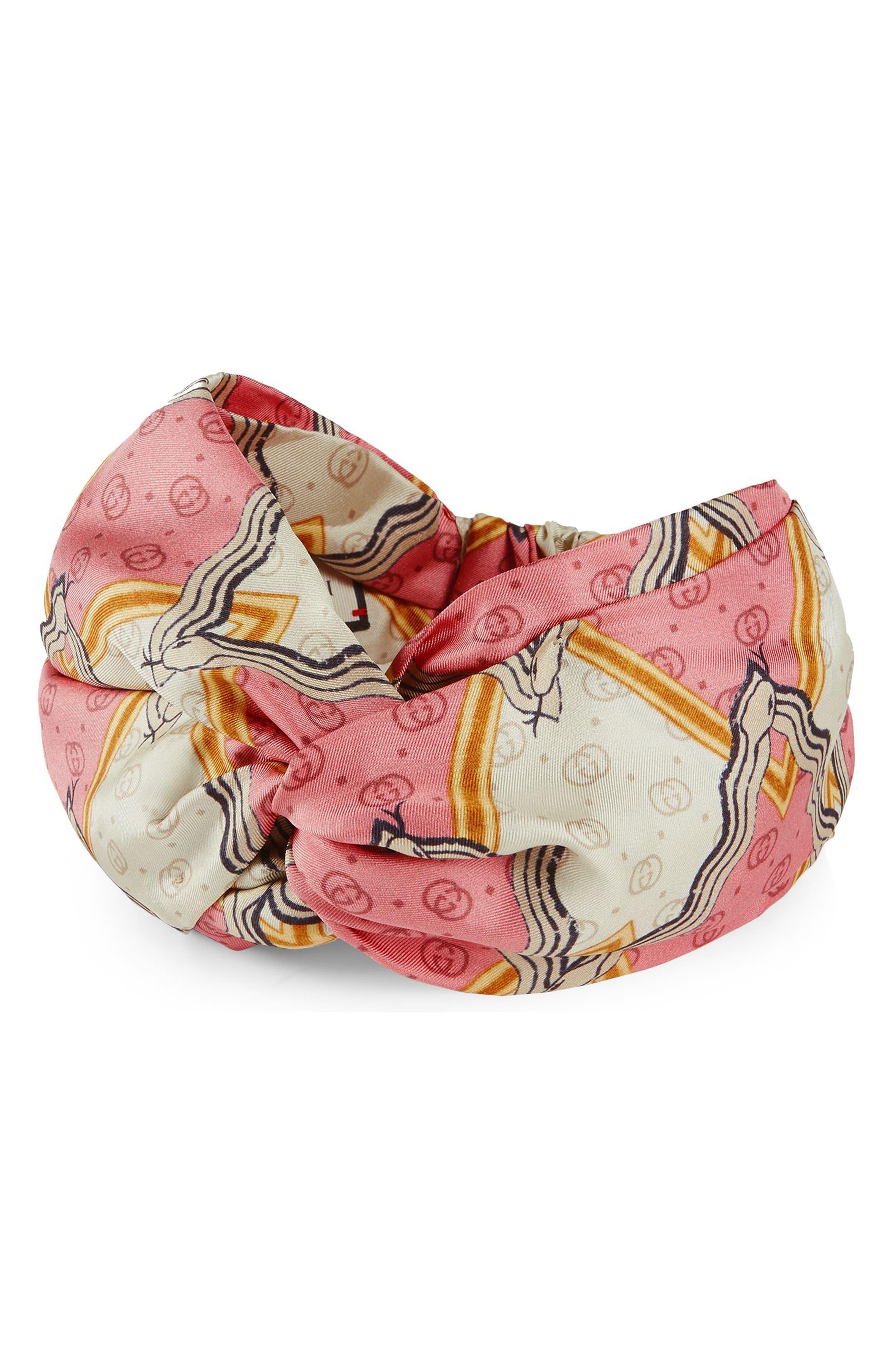 Snake Print Silk Headband,                         Main,                         color, ROSEATE/ IVORY