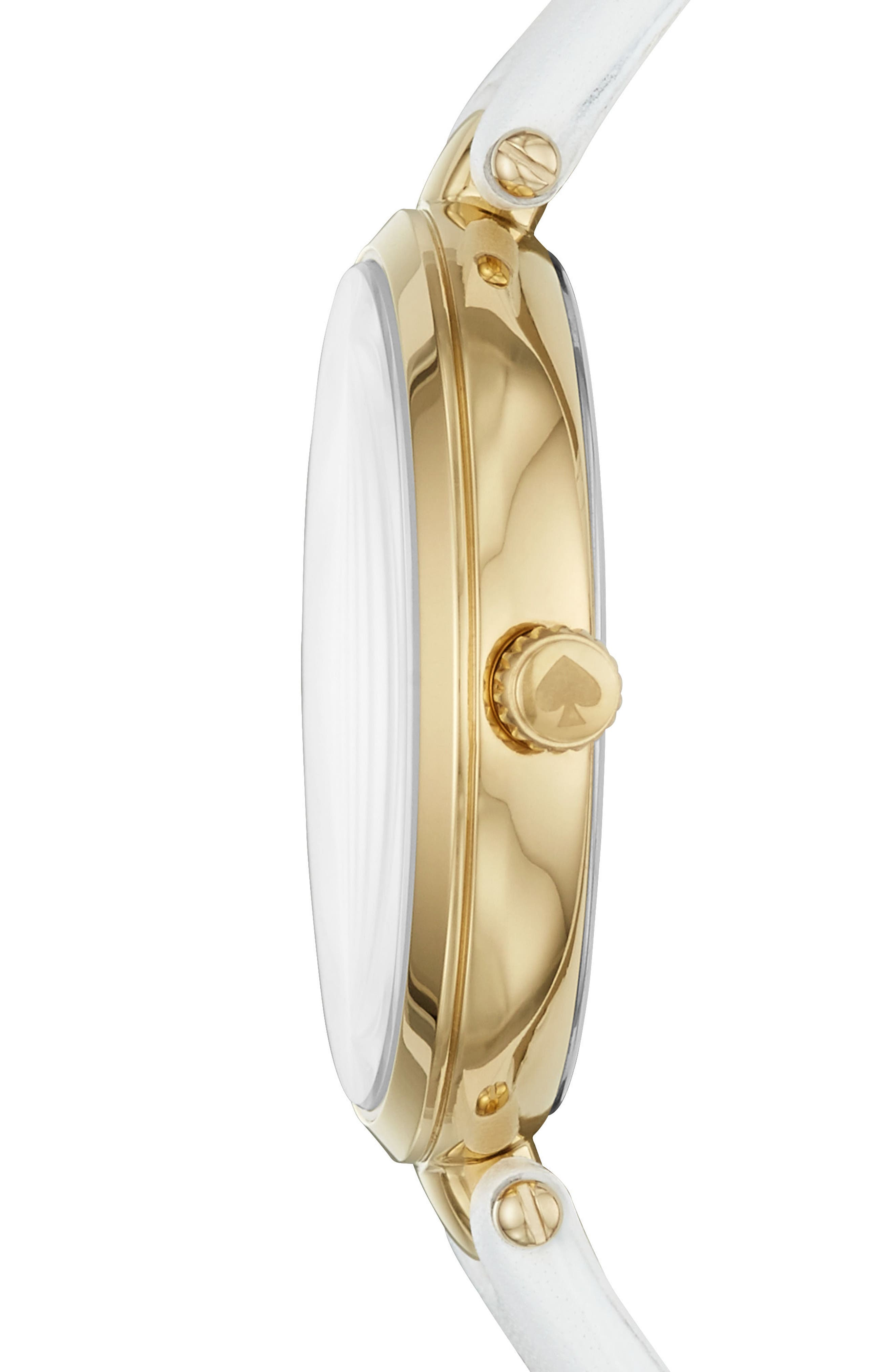 kate spade holland bee leather strap watch, 34mm,                             Alternate thumbnail 2, color,                             WHITE/ BLACK/ GOLD