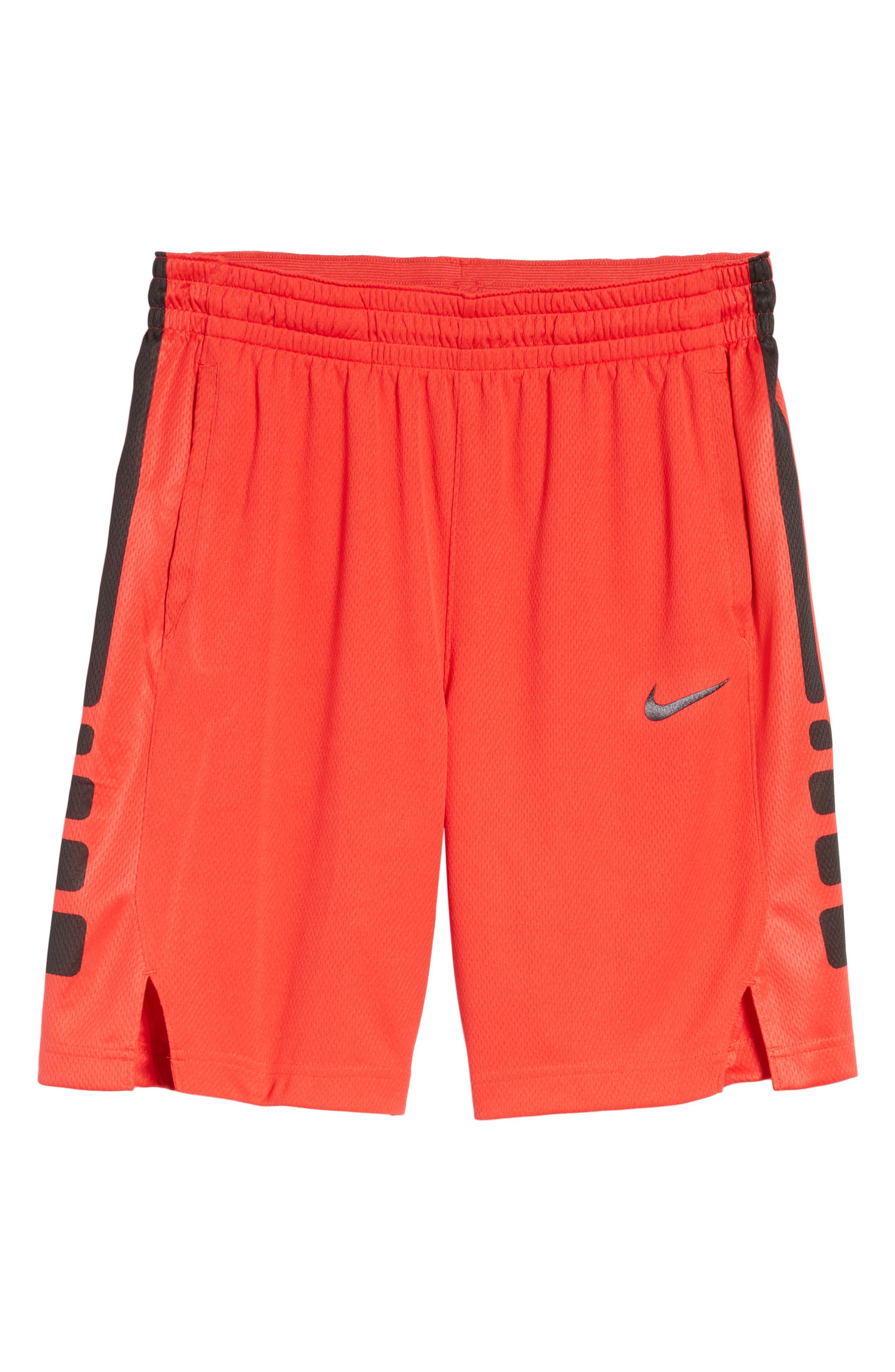 Elite Stripe Basketball Shorts,                             Alternate thumbnail 6, color,                             UNIVERSITY RED/ BLACK