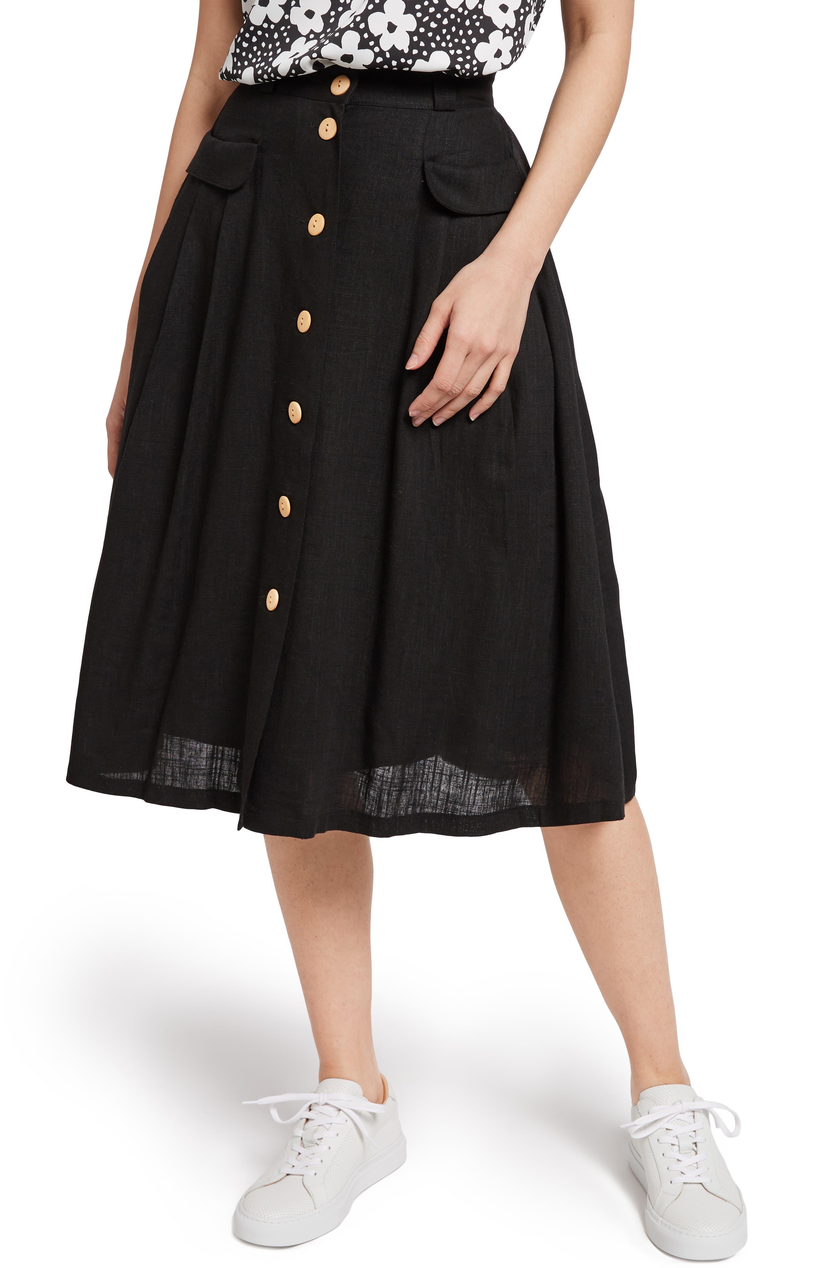 MODCLOTH,                             Pleat Midi Skirt,                             Main thumbnail 1, color,                             BLACK