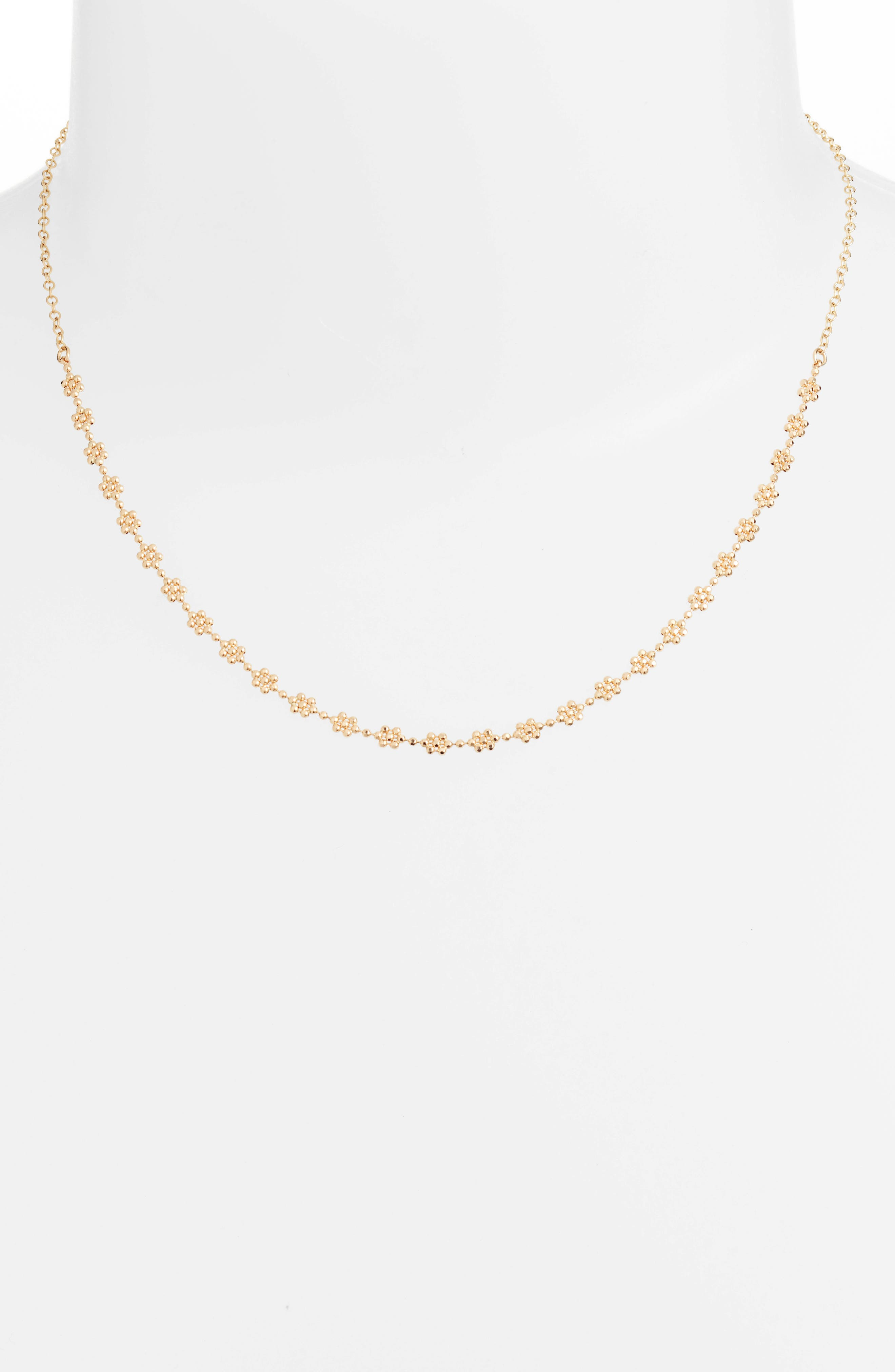 Shimmer Flower Choker Necklace,                             Alternate thumbnail 2, color,                             YELLOW GOLD