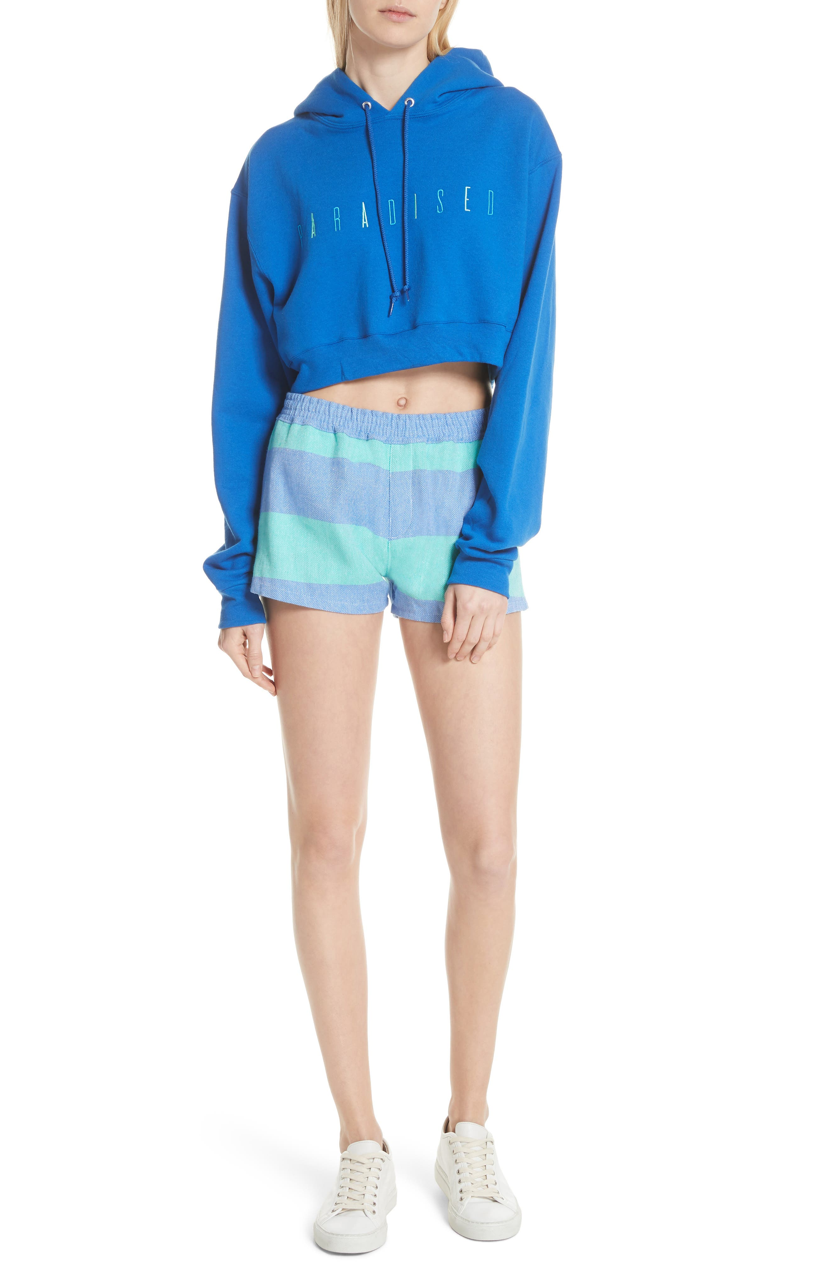 Logo Embroidered Crop Hoodie,                             Alternate thumbnail 7, color,                             ROYAL