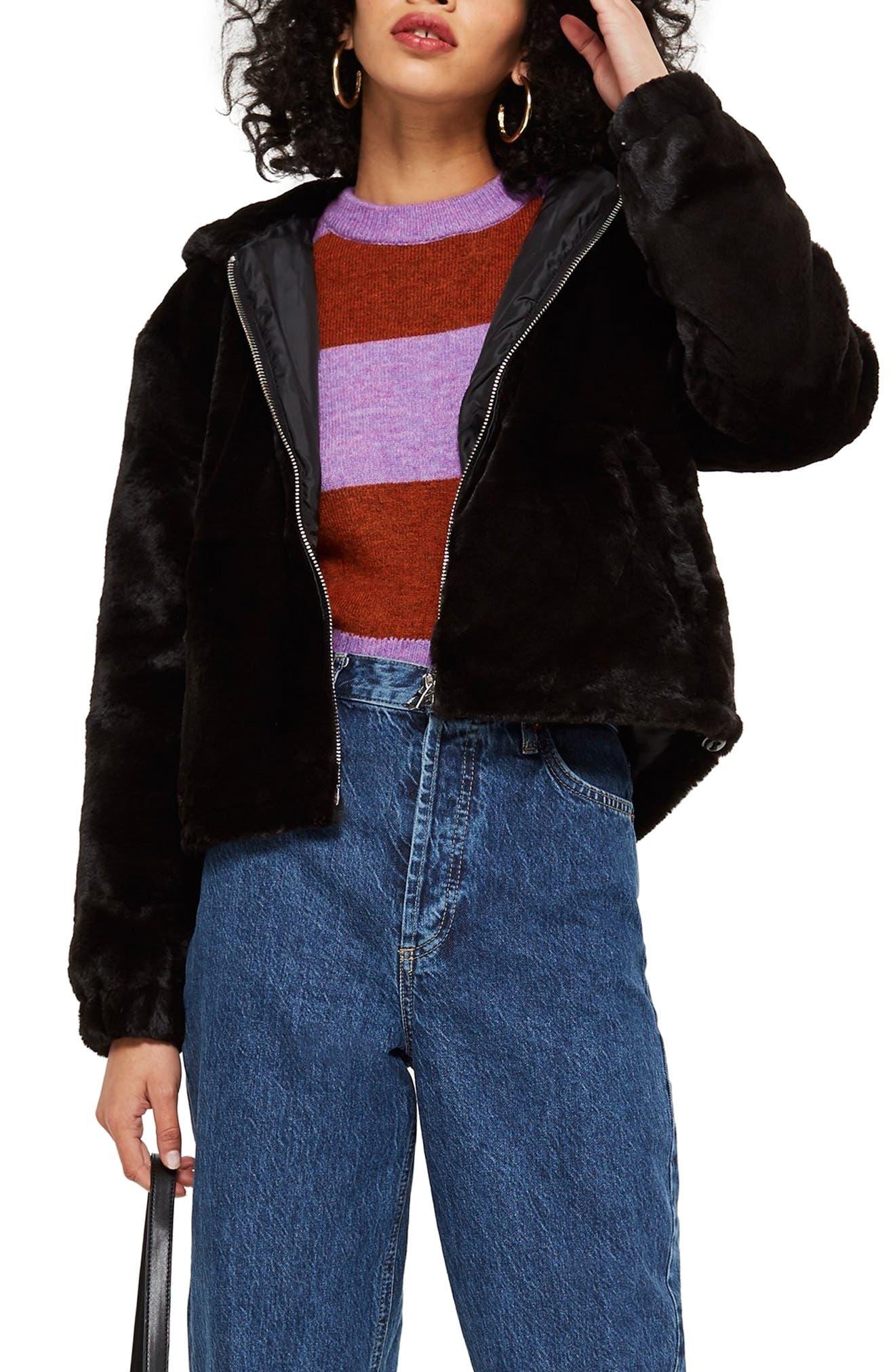 Faux Fur Zip Hoodie,                         Main,                         color, BLACK