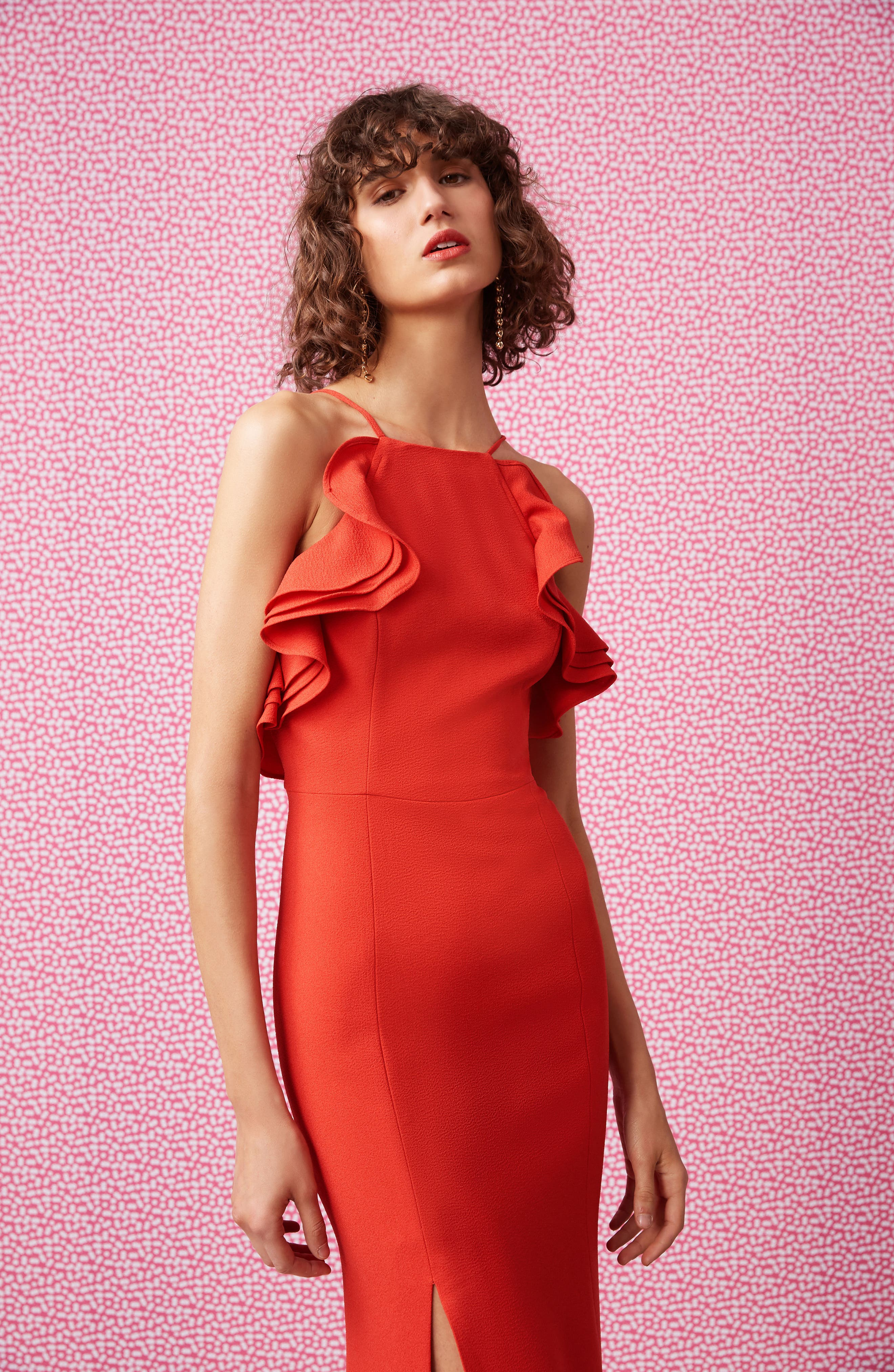 Ruffle Halter Gown,                             Alternate thumbnail 7, color,                             622