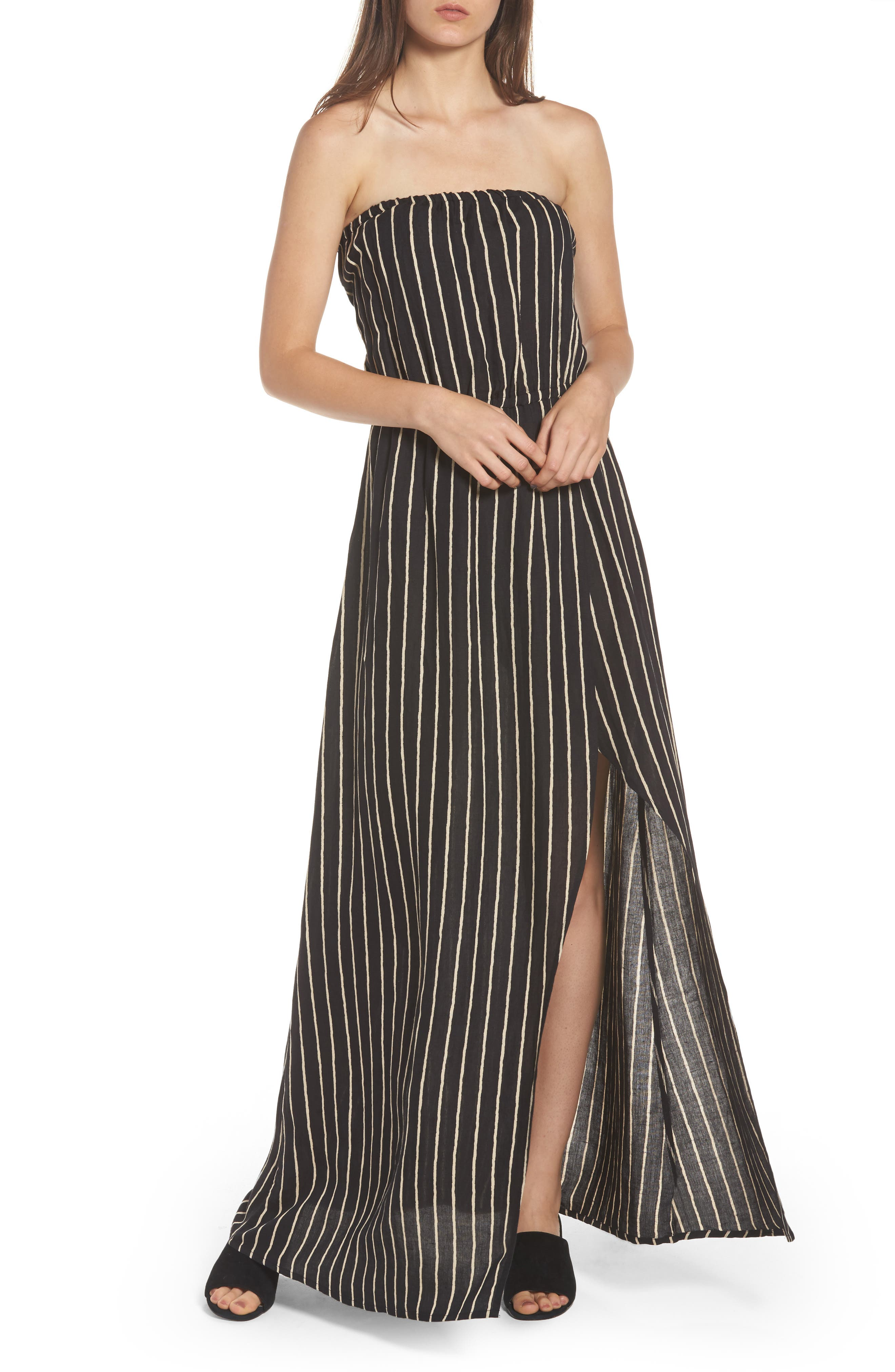 Strapless Faux Wrap Maxi Dress,                             Main thumbnail 1, color,