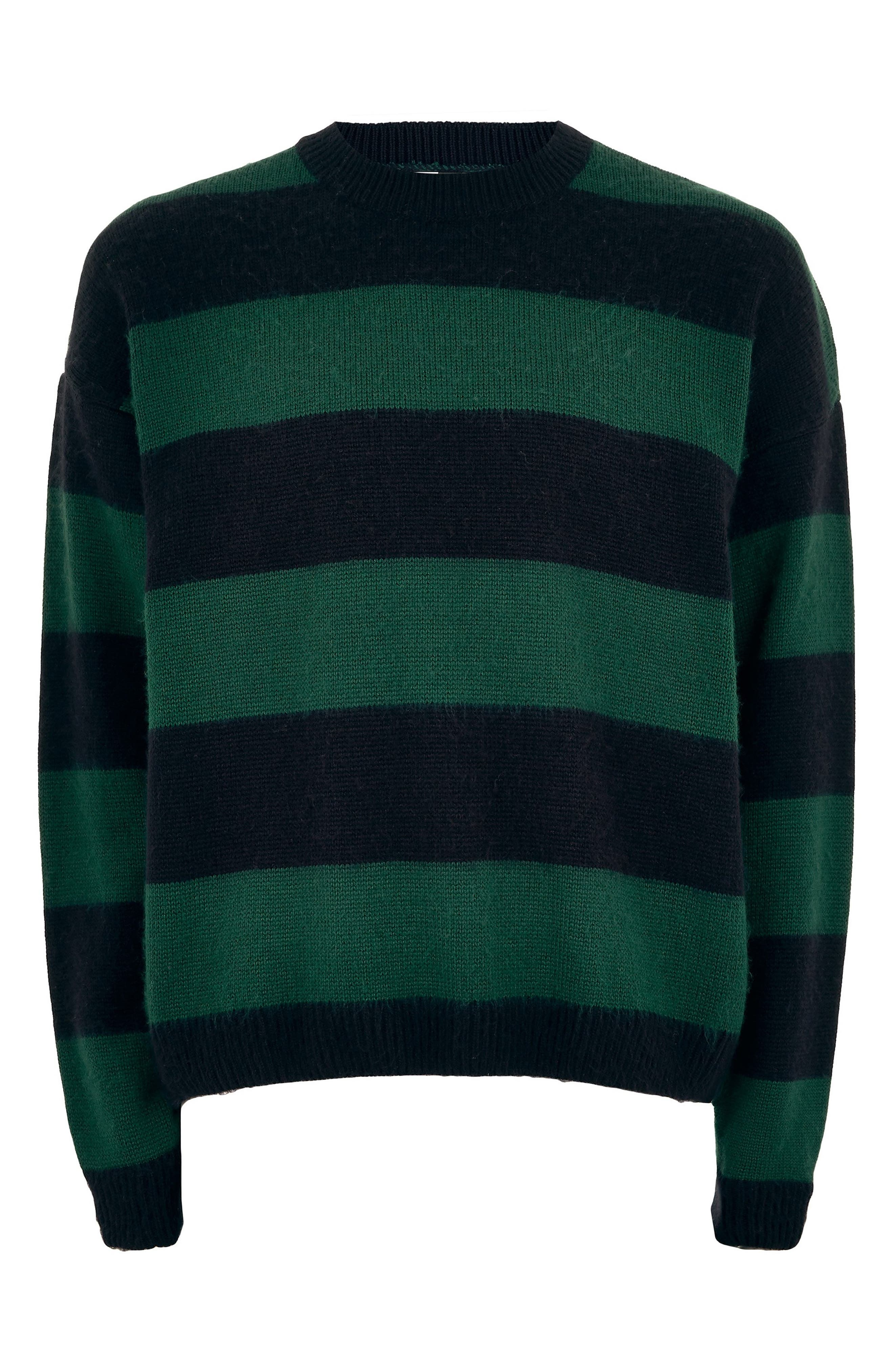 Block Stripe Classic Fit Sweater,                             Alternate thumbnail 4, color,                             GREEN MULTI
