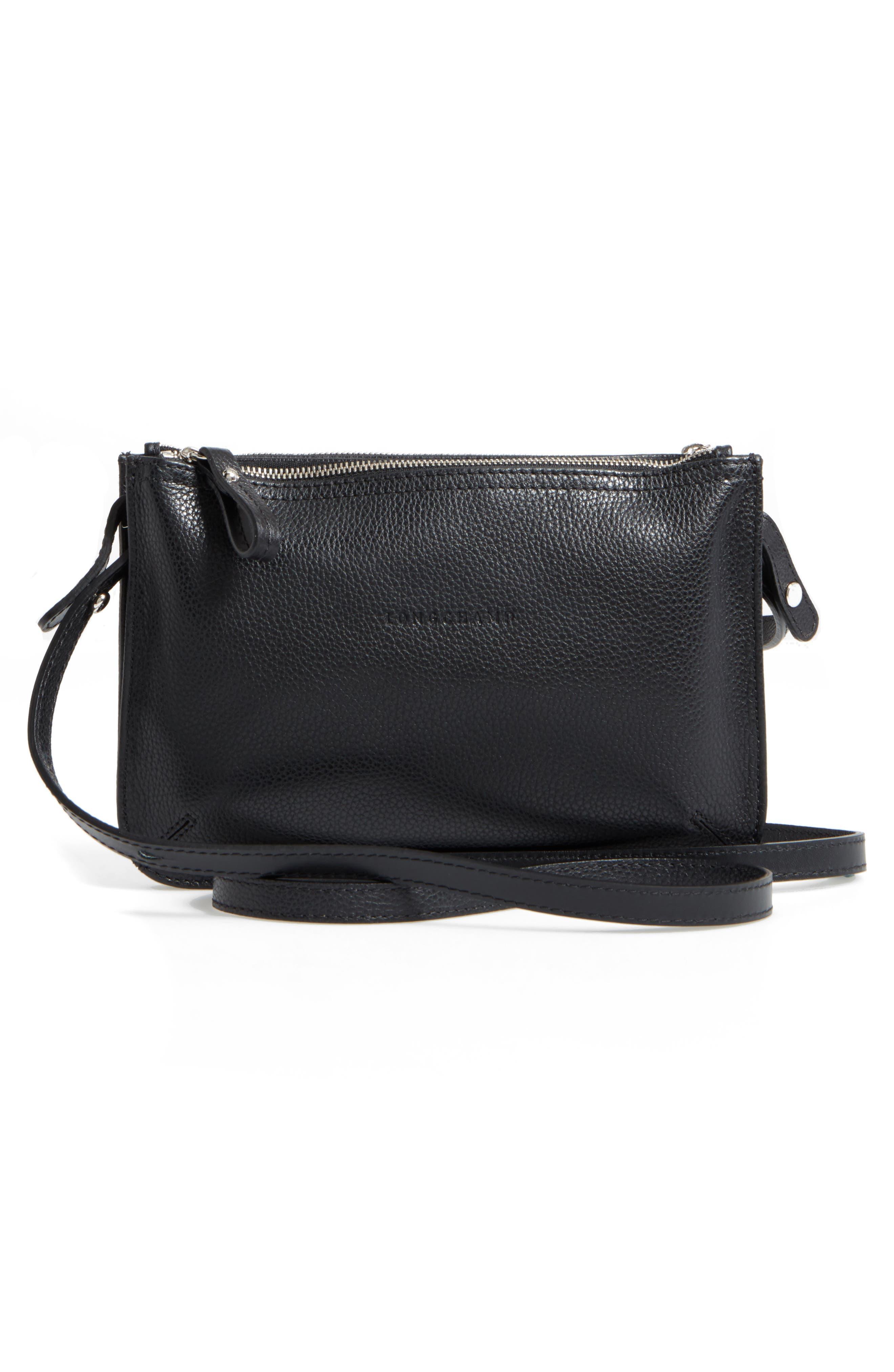 Le Foulonne Leather Crossbody Bag,                             Alternate thumbnail 3, color,                             002