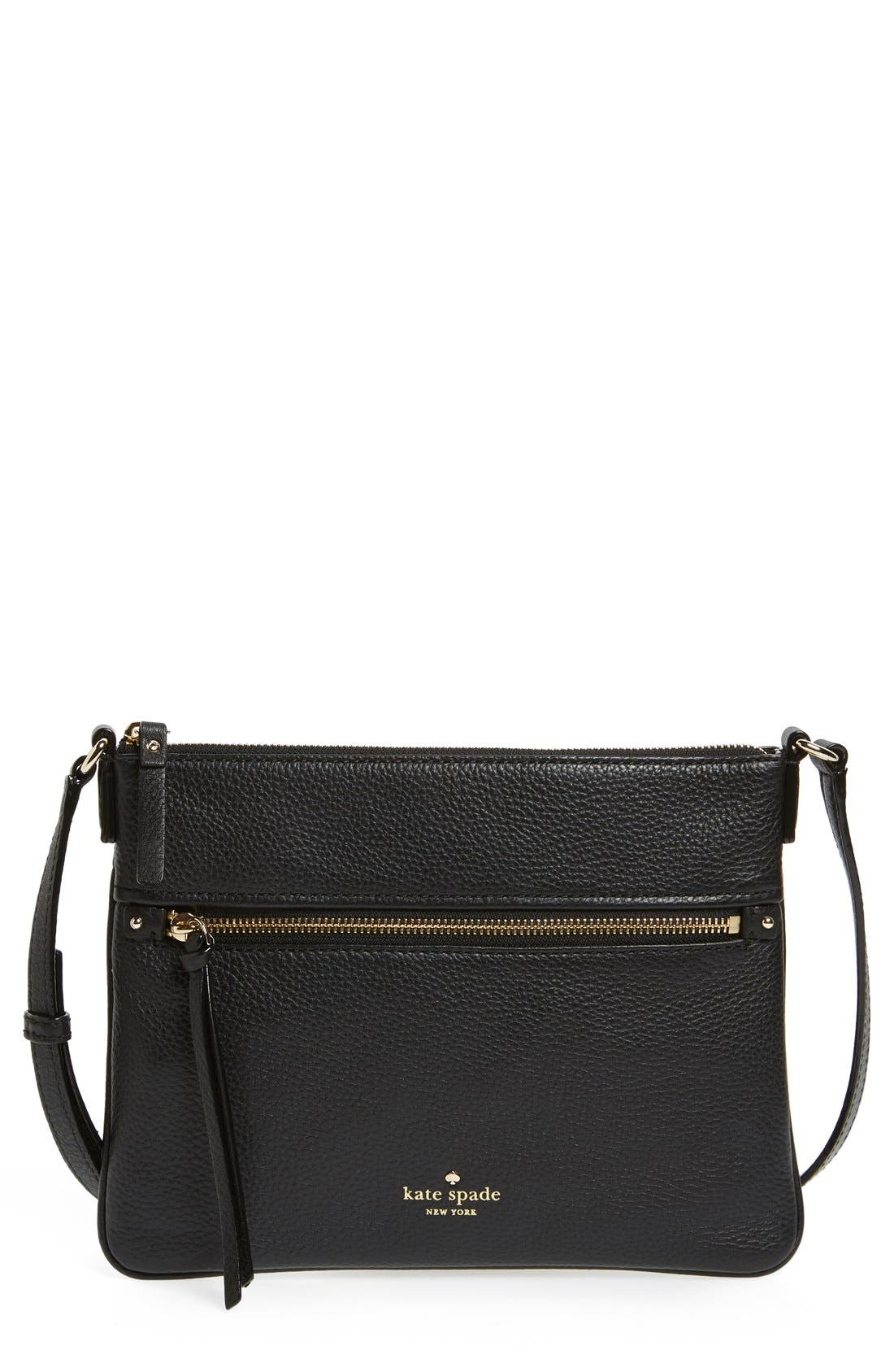 'cobble hill - gabriele' pebbled leather crossbody bag,                         Main,                         color, 001