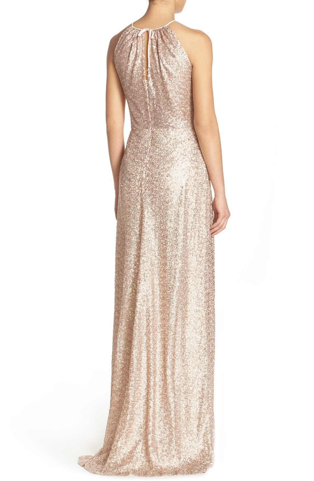 'Chandler' Sequin Tulle Halter Style Gown,                             Alternate thumbnail 10, color,