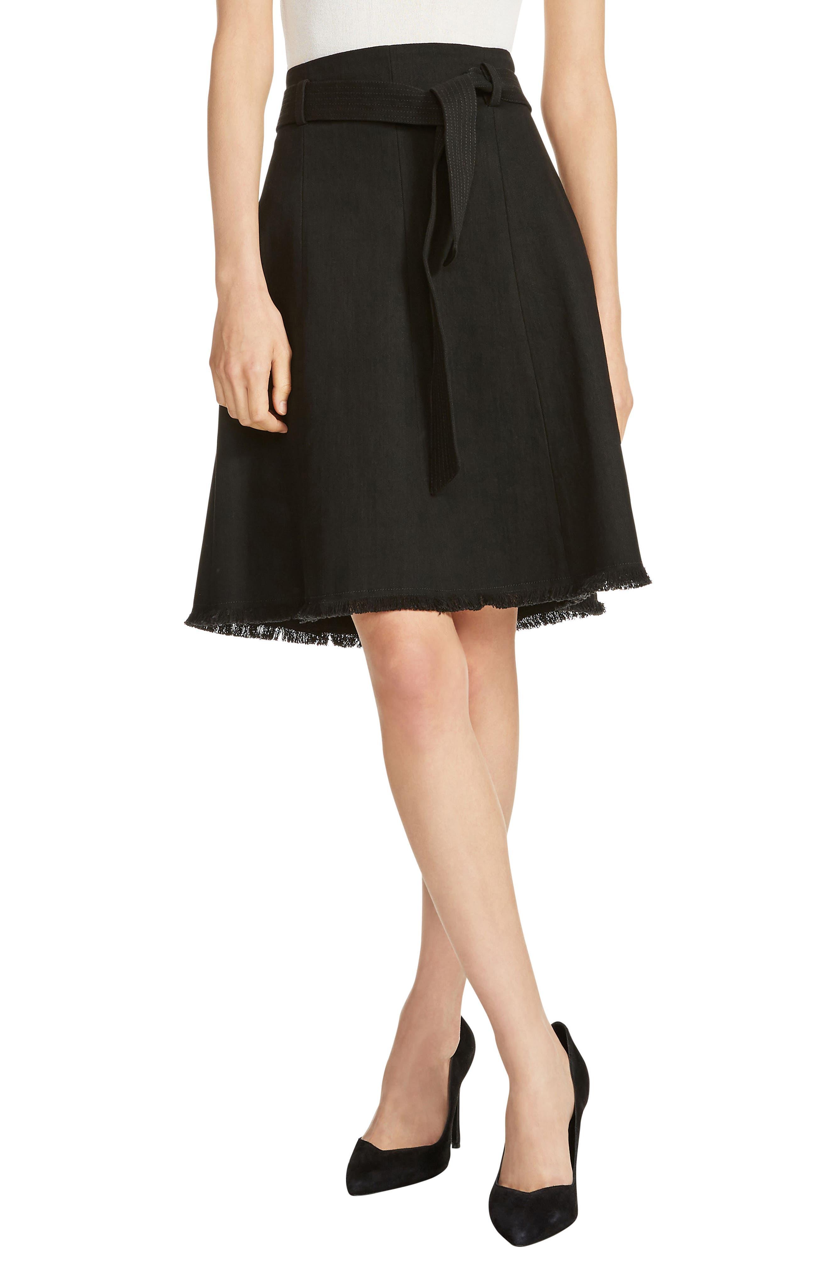 Tie Waist Stretch Cotton A-Line Skirt,                         Main,                         color, 001