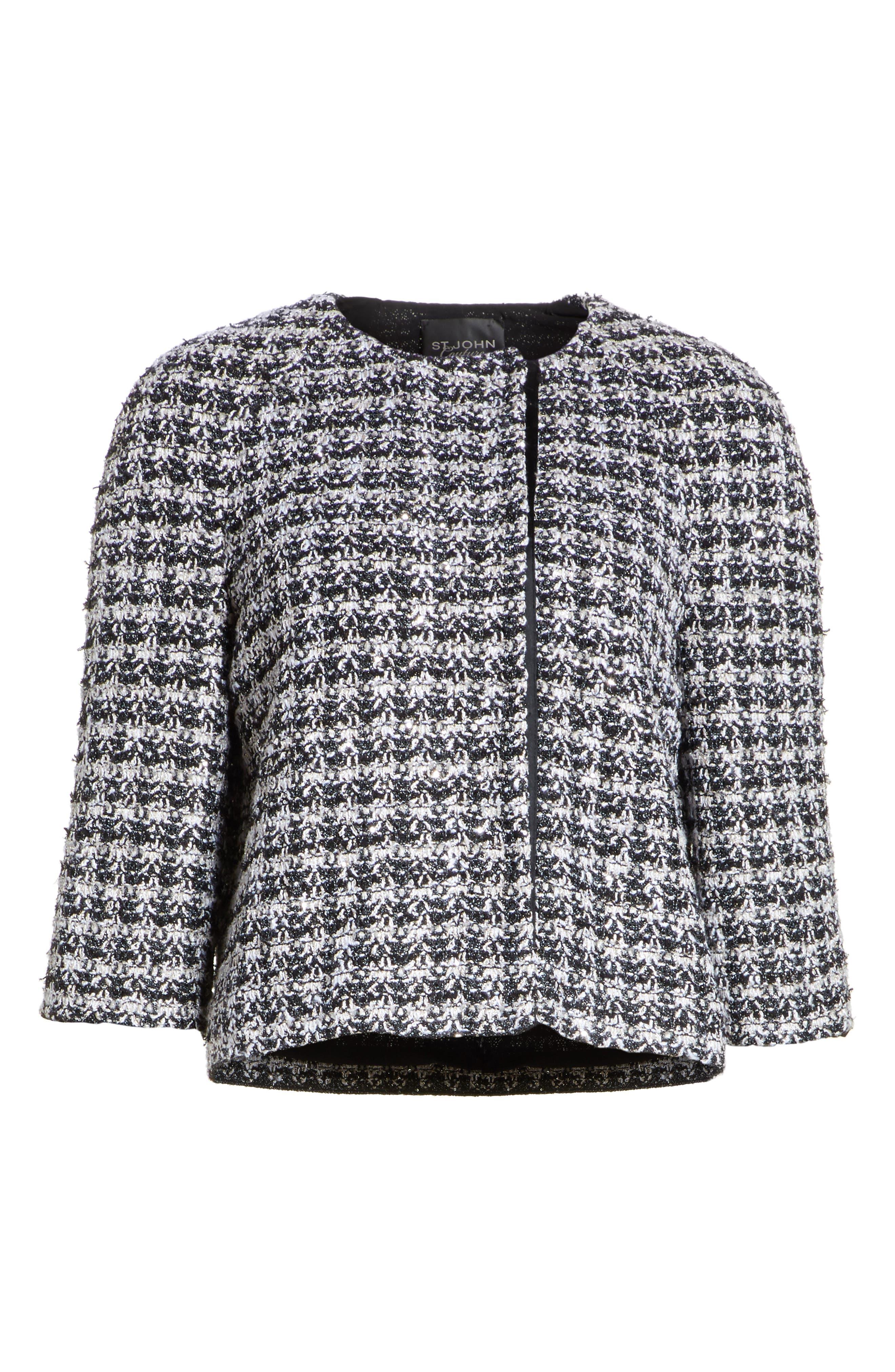 Metallic Plaid Tweed Jacket,                             Alternate thumbnail 5, color,                             001