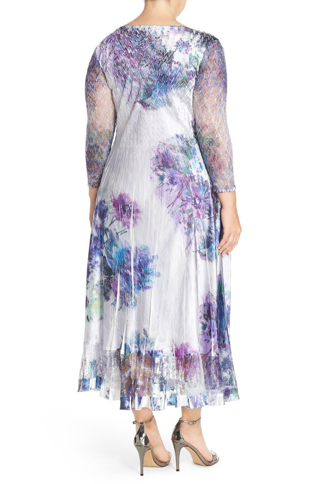 Print Charmeuse & Chiffon A-Line Long Dress,                             Alternate thumbnail 3, color,                             908