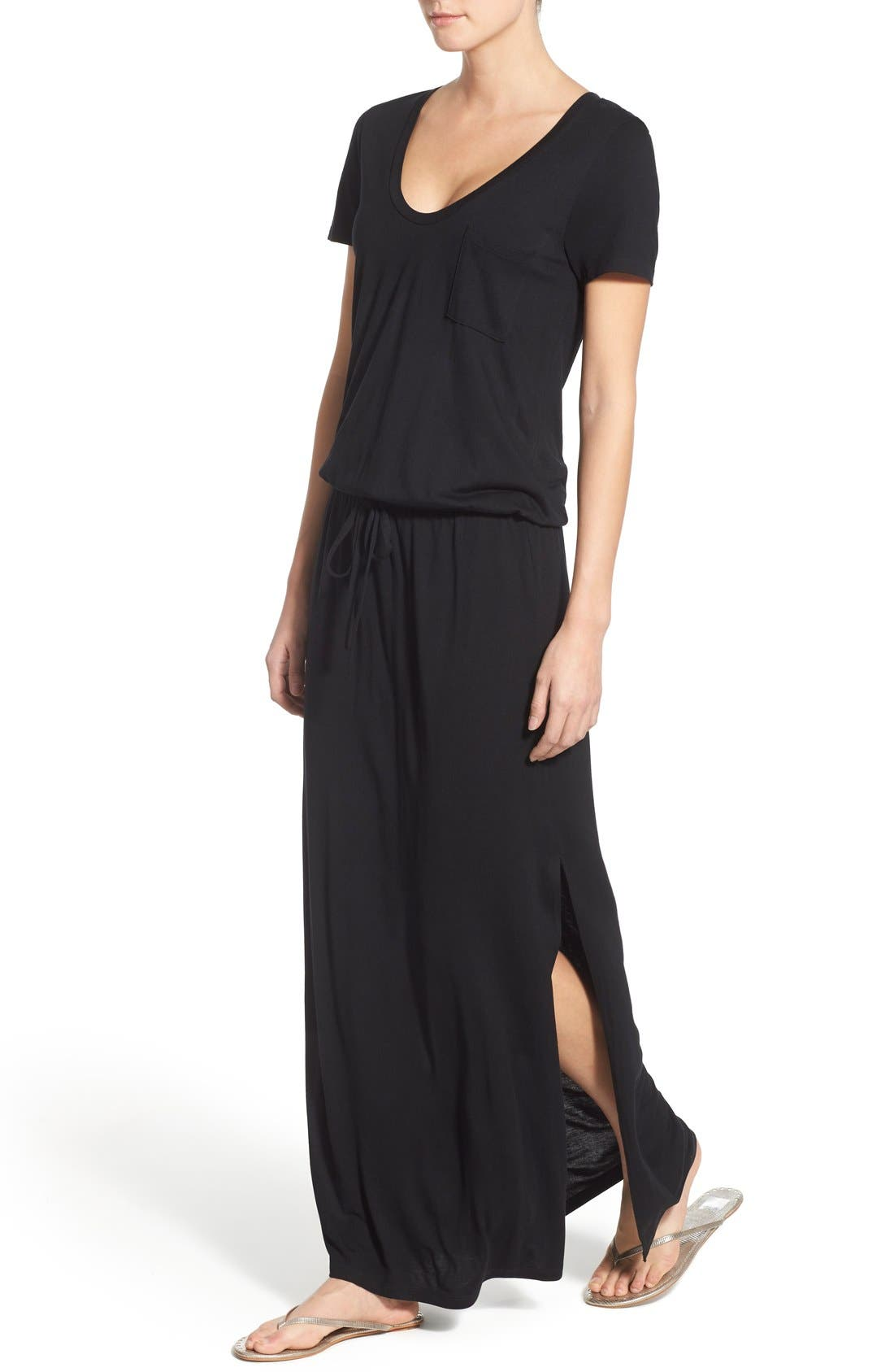 Drawstring V-Neck Jersey Maxi Dress,                             Alternate thumbnail 43, color,