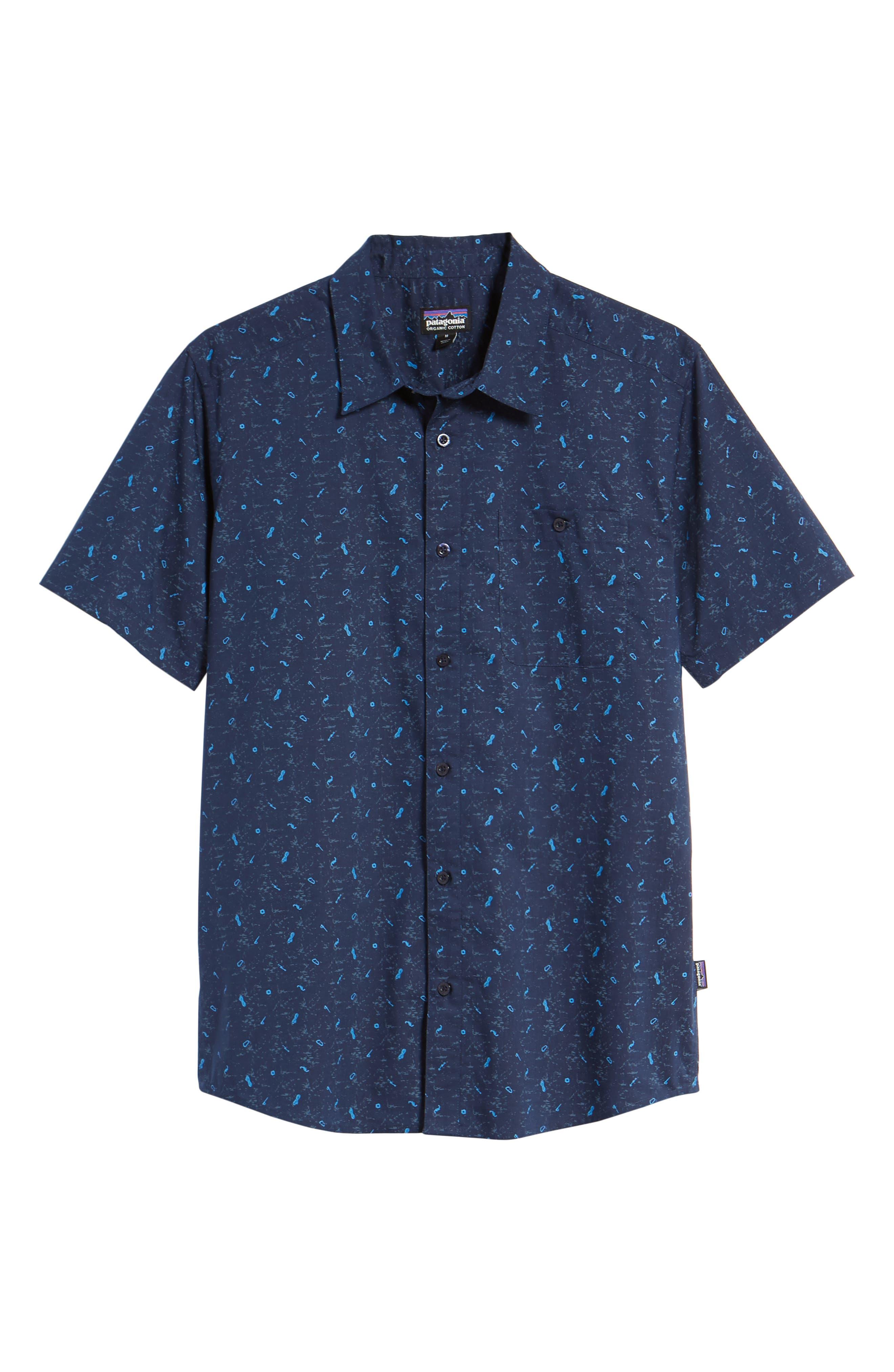 'Go To' Slim Fit Short Sleeve Sport Shirt,                             Alternate thumbnail 6, color,                             ROCKWALL/ CLASSIC NAVY