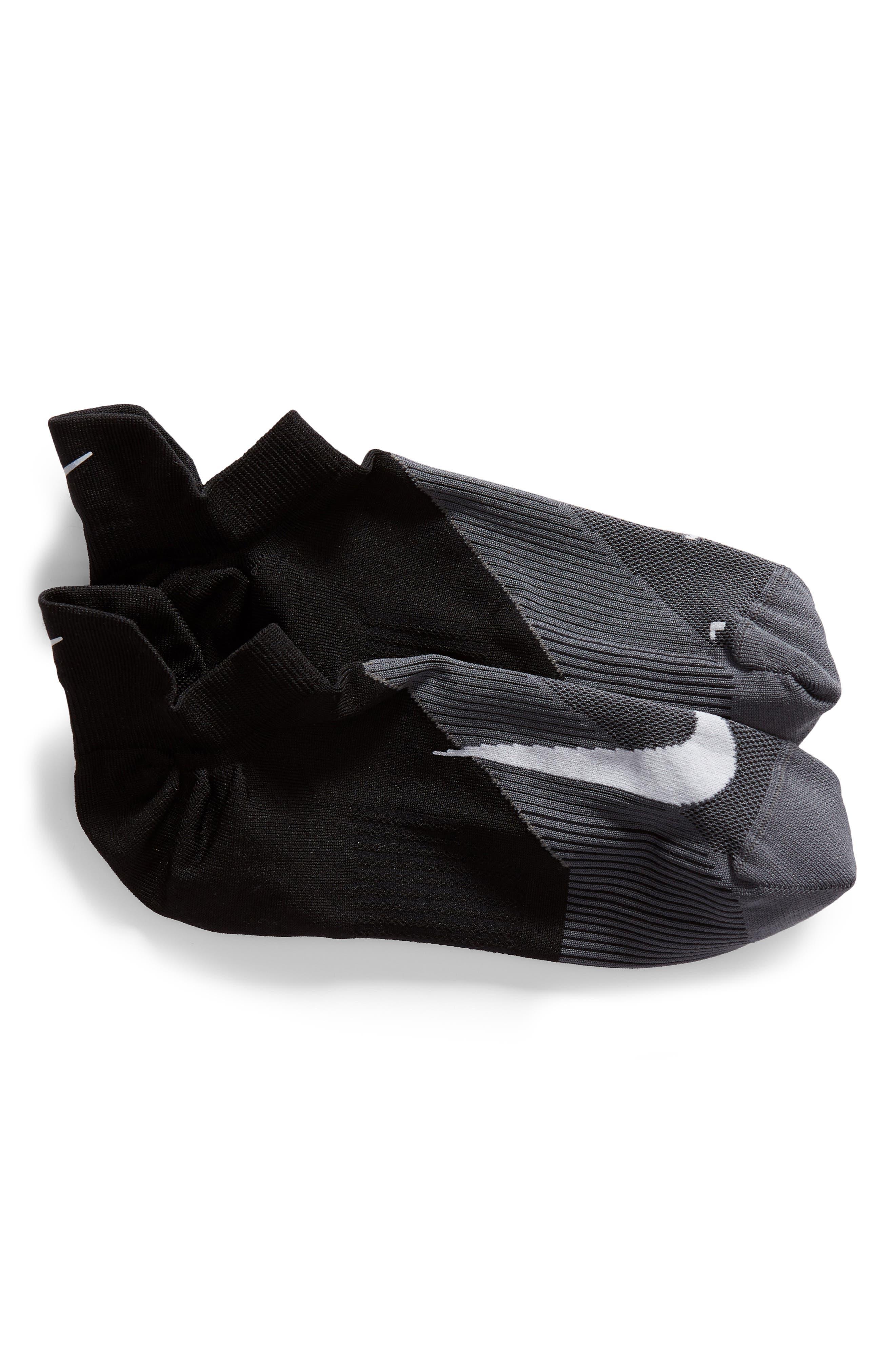 Elite Lightweight No-Show Socks,                             Main thumbnail 1, color,                             BLACK/ WHITE
