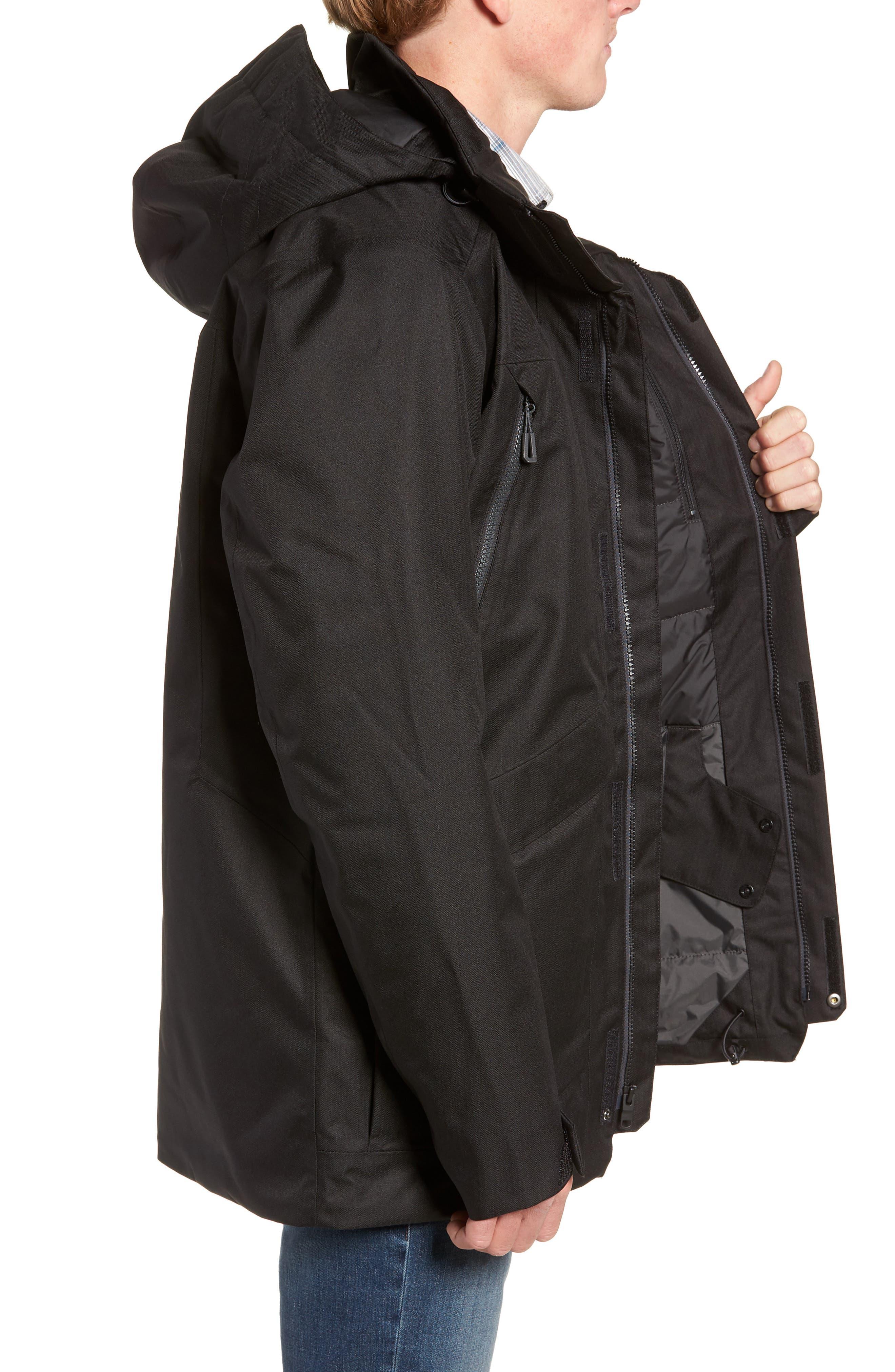 Gatekeeper Waterproof Jacket,                             Alternate thumbnail 3, color,                             TNF BLACK/TNF BLACK