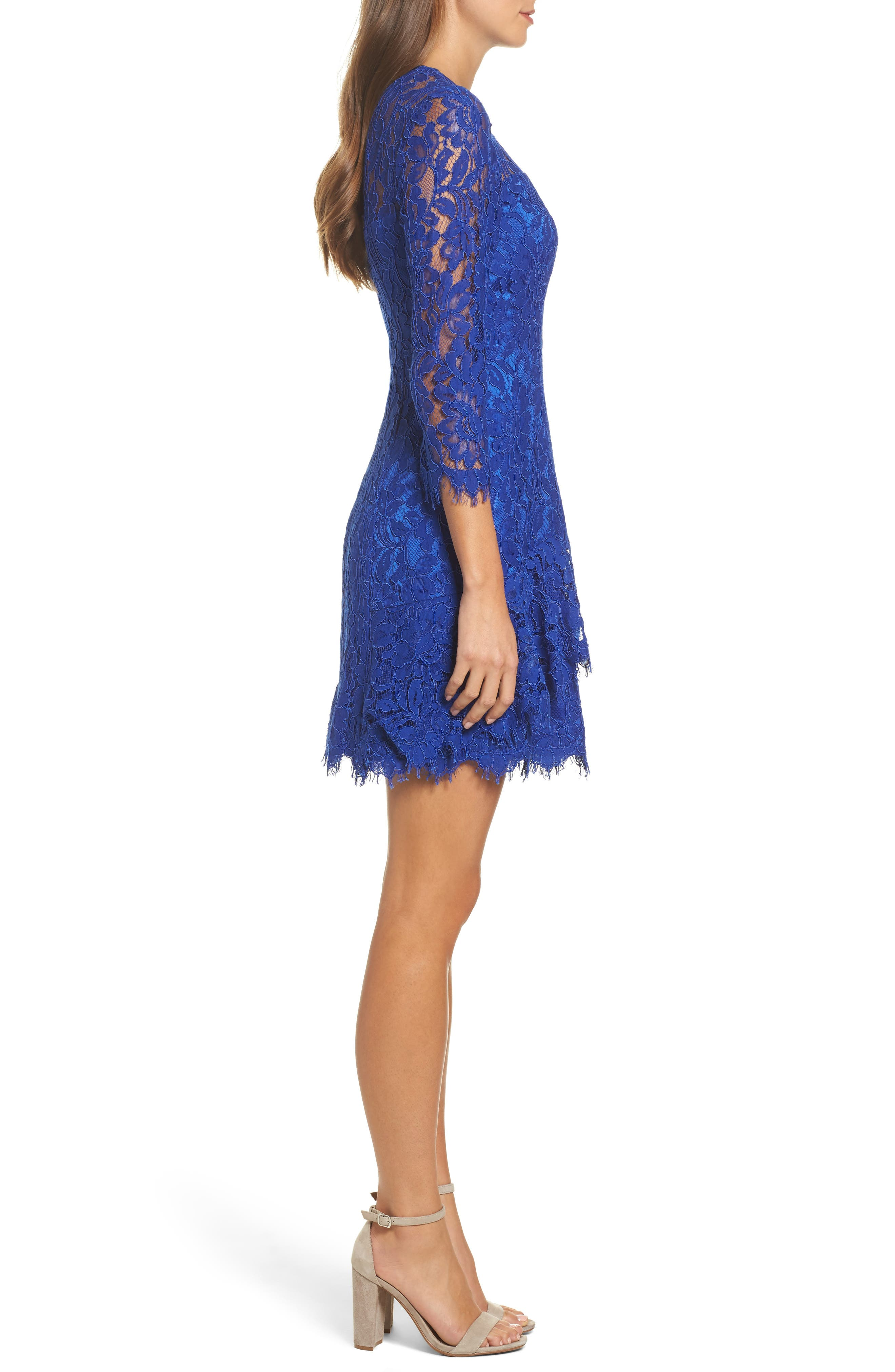 Lace Fit & Flare Dress,                             Alternate thumbnail 3, color,                             430