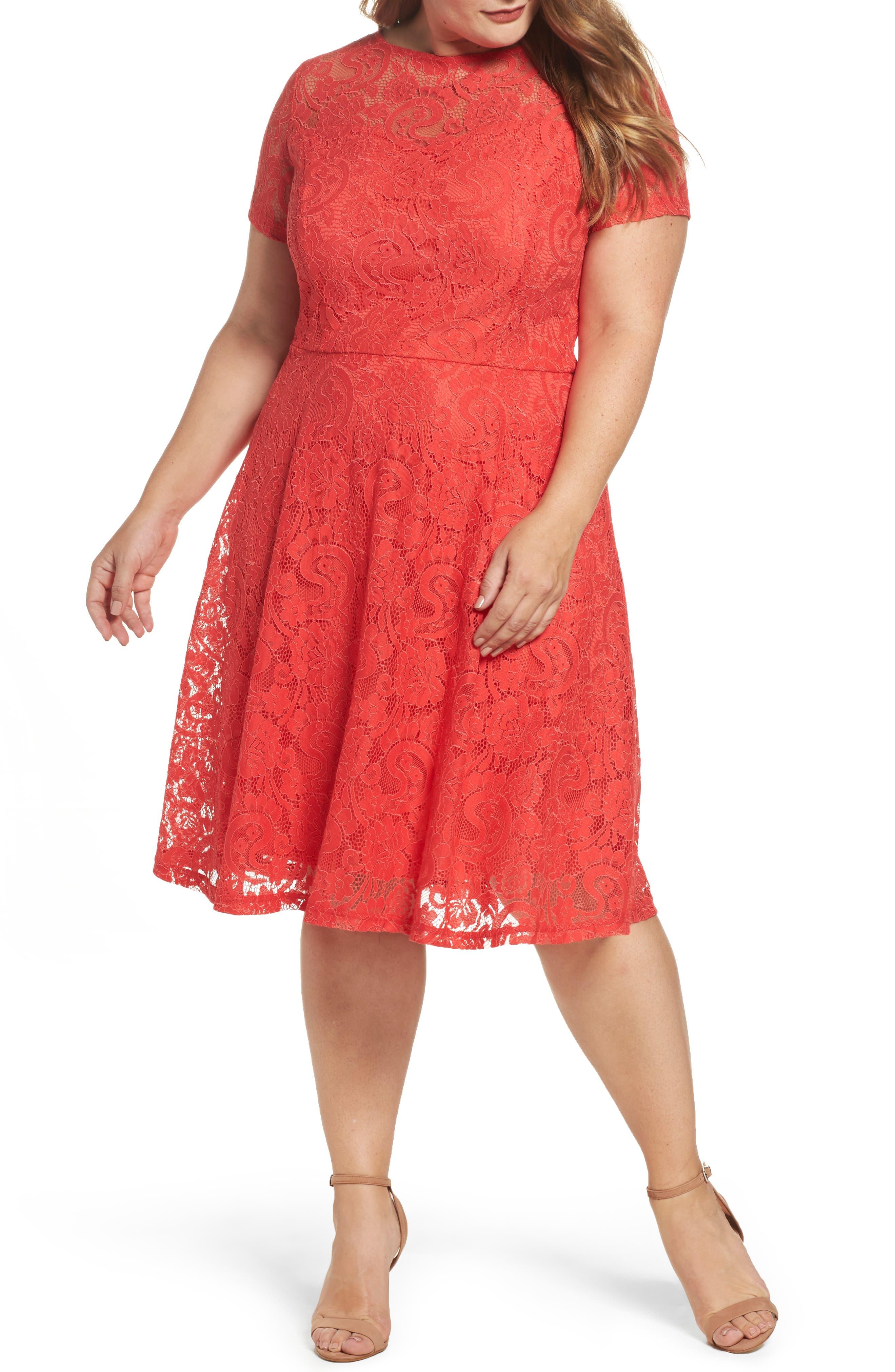 Lace Fit & Flare Dress,                             Main thumbnail 1, color,                             620
