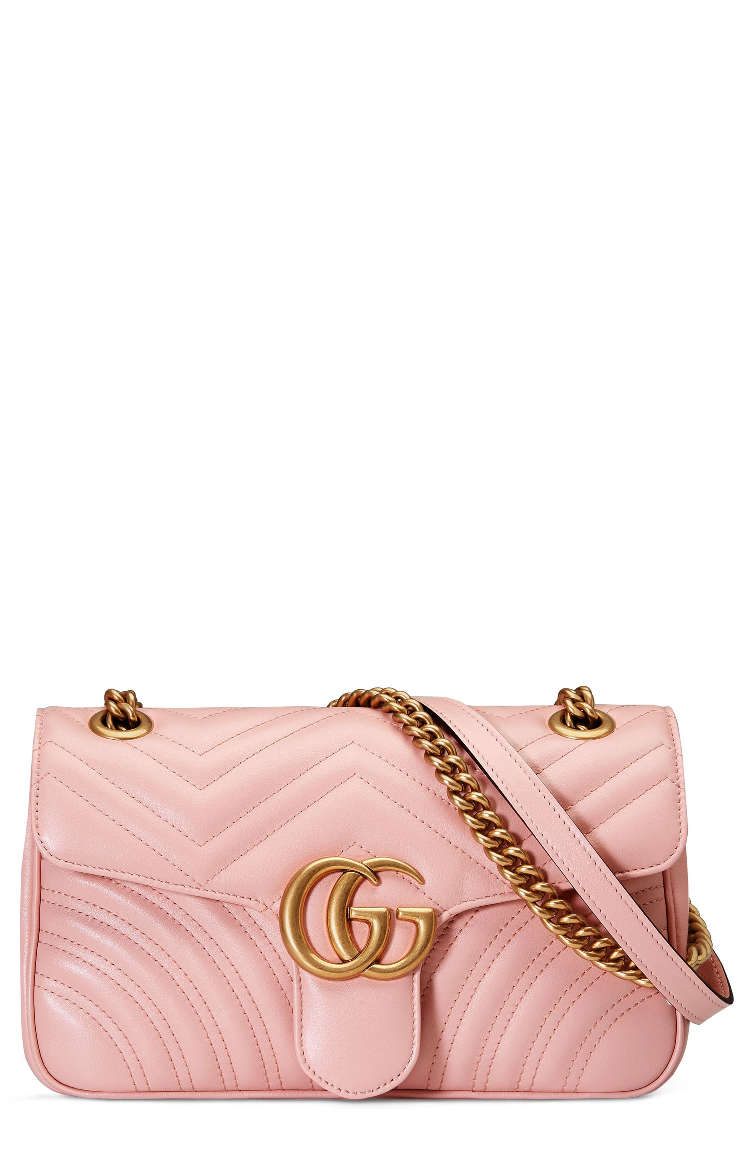 Small GG Marmont 2.0 Matelassé Leather Shoulder Bag,                             Main thumbnail 1, color,                             PERFECT PINK/ PERFECT PINK