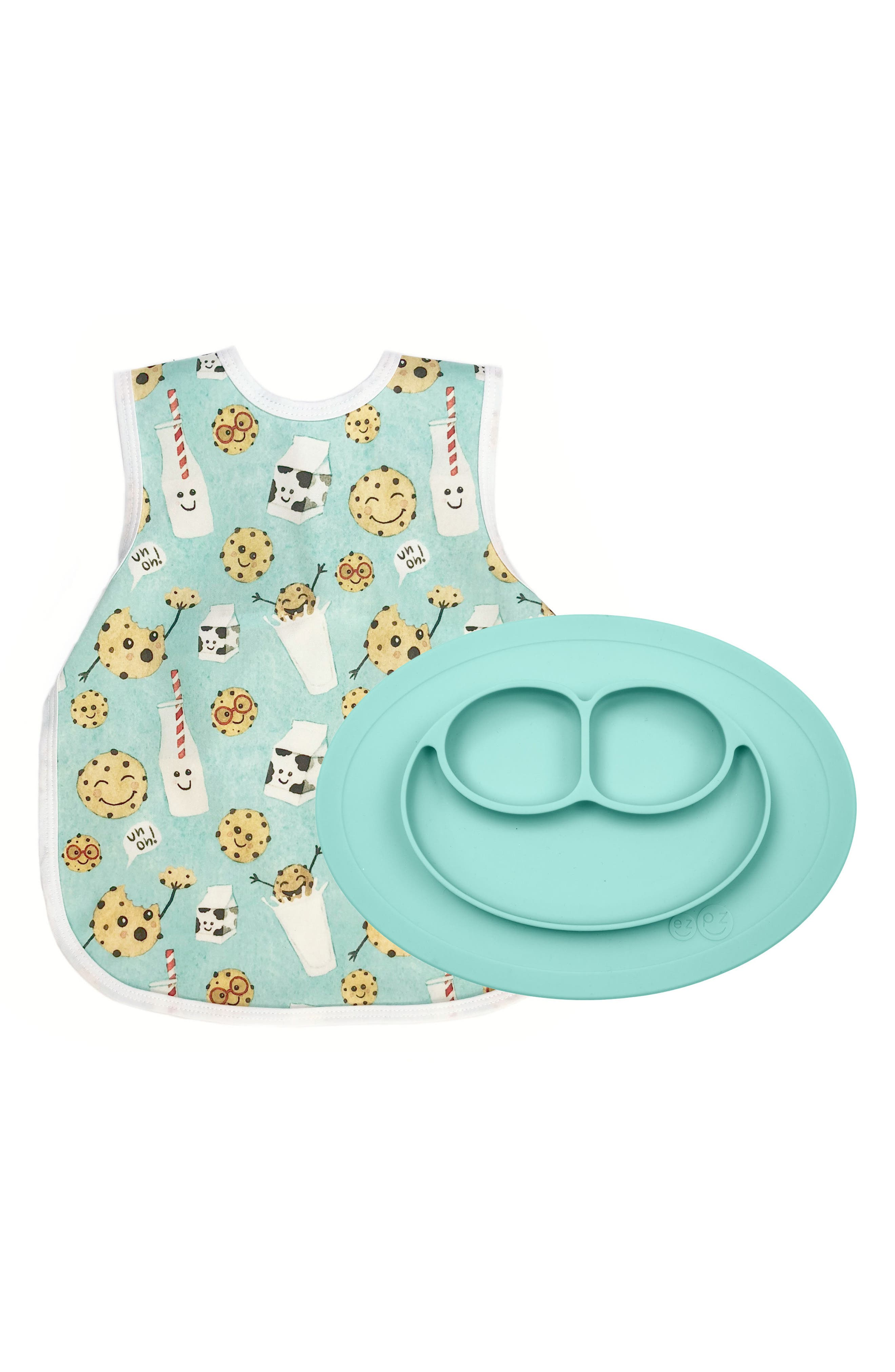 Cookies Bapron & Mini Silicone Feeding Mat,                             Main thumbnail 1, color,                             AQUA