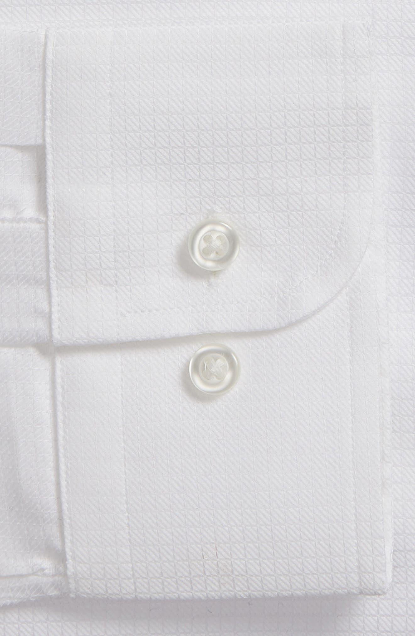 Trim Fit Check Dress Shirt,                             Alternate thumbnail 6, color,                             WHITE