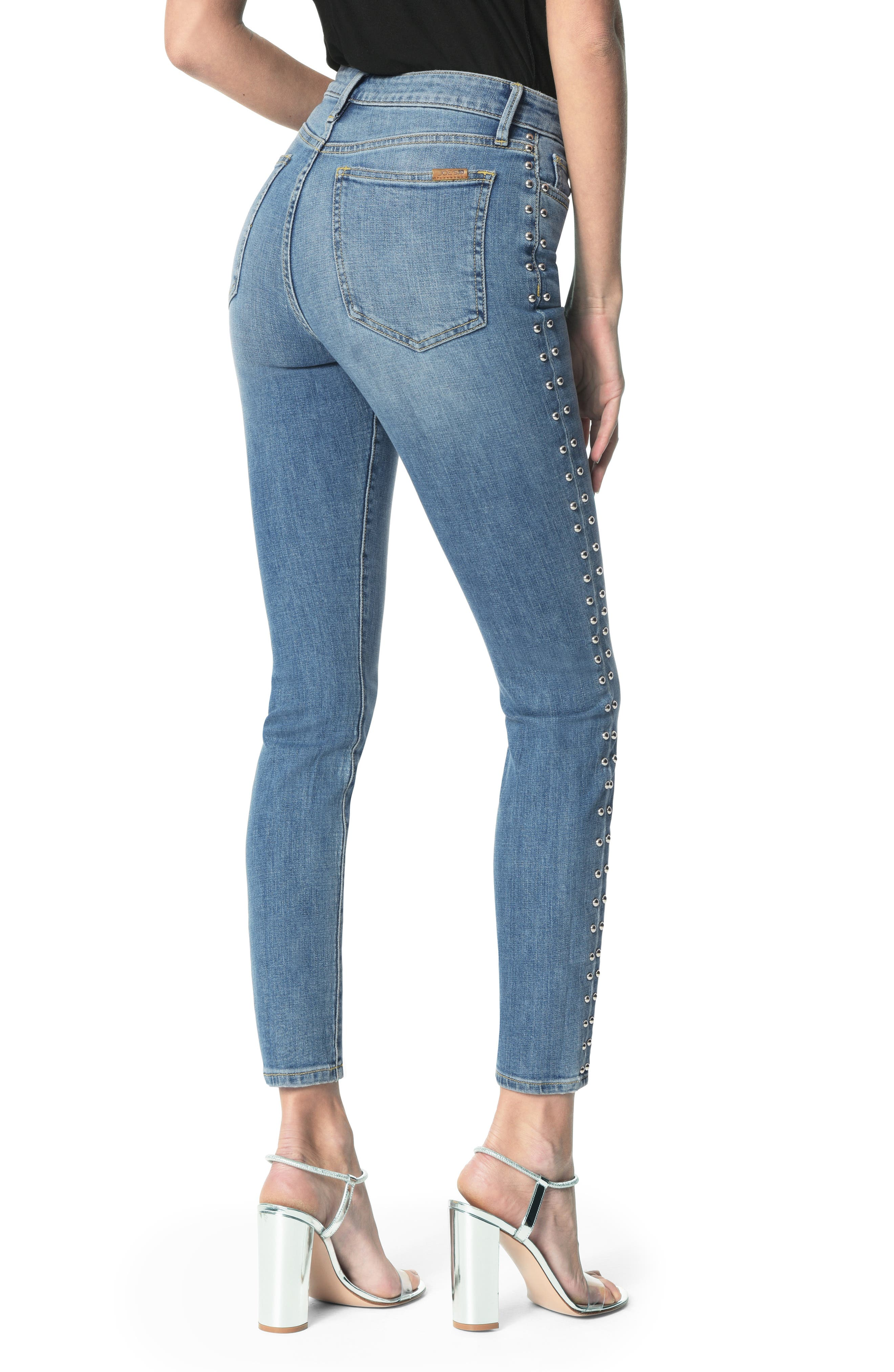 Charlie Stud Seam High Waist Ankle Skinny Jeans,                             Alternate thumbnail 2, color,                             ORA