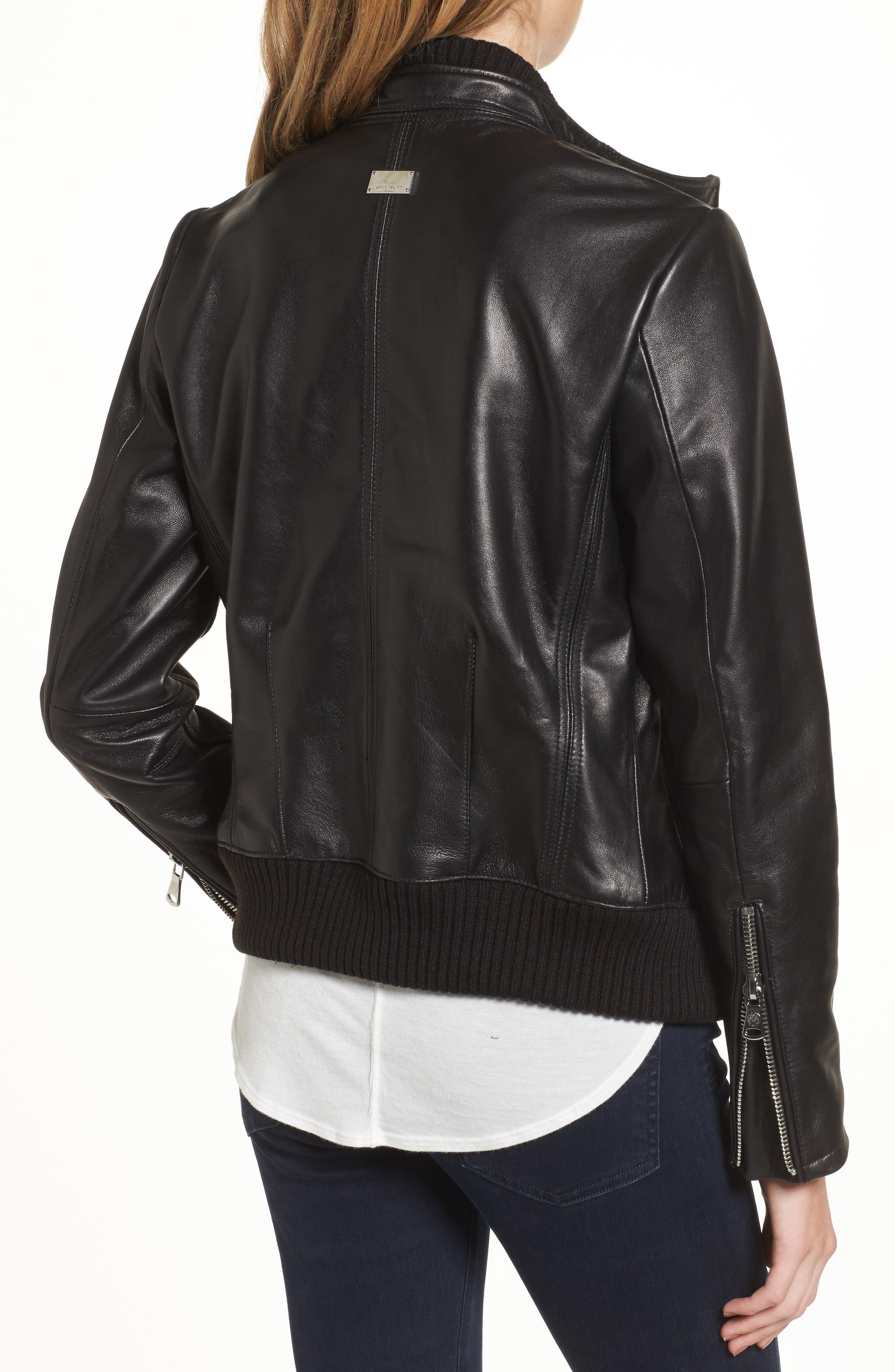 Leather Bomber Jacket,                             Alternate thumbnail 2, color,
