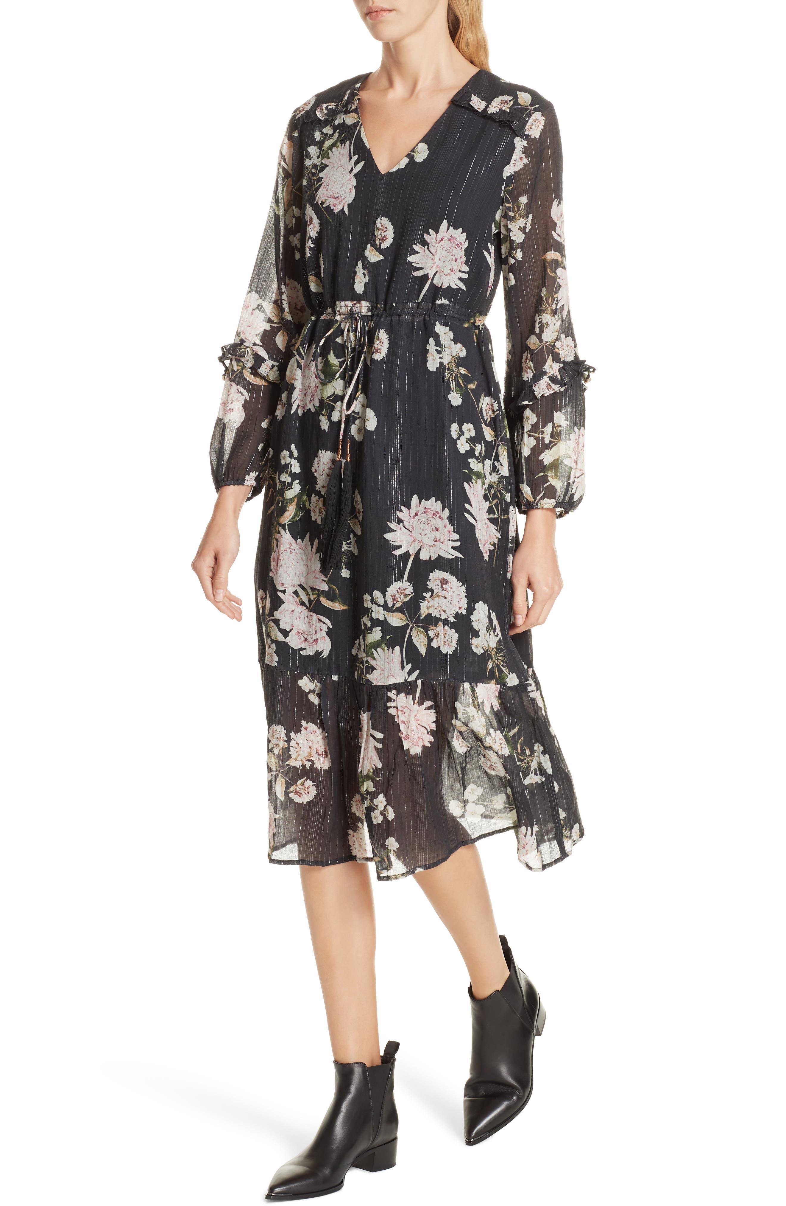 Ruffled Floral Midi Dress,                             Alternate thumbnail 4, color,                             BLACK CHRYSANTHEMUM