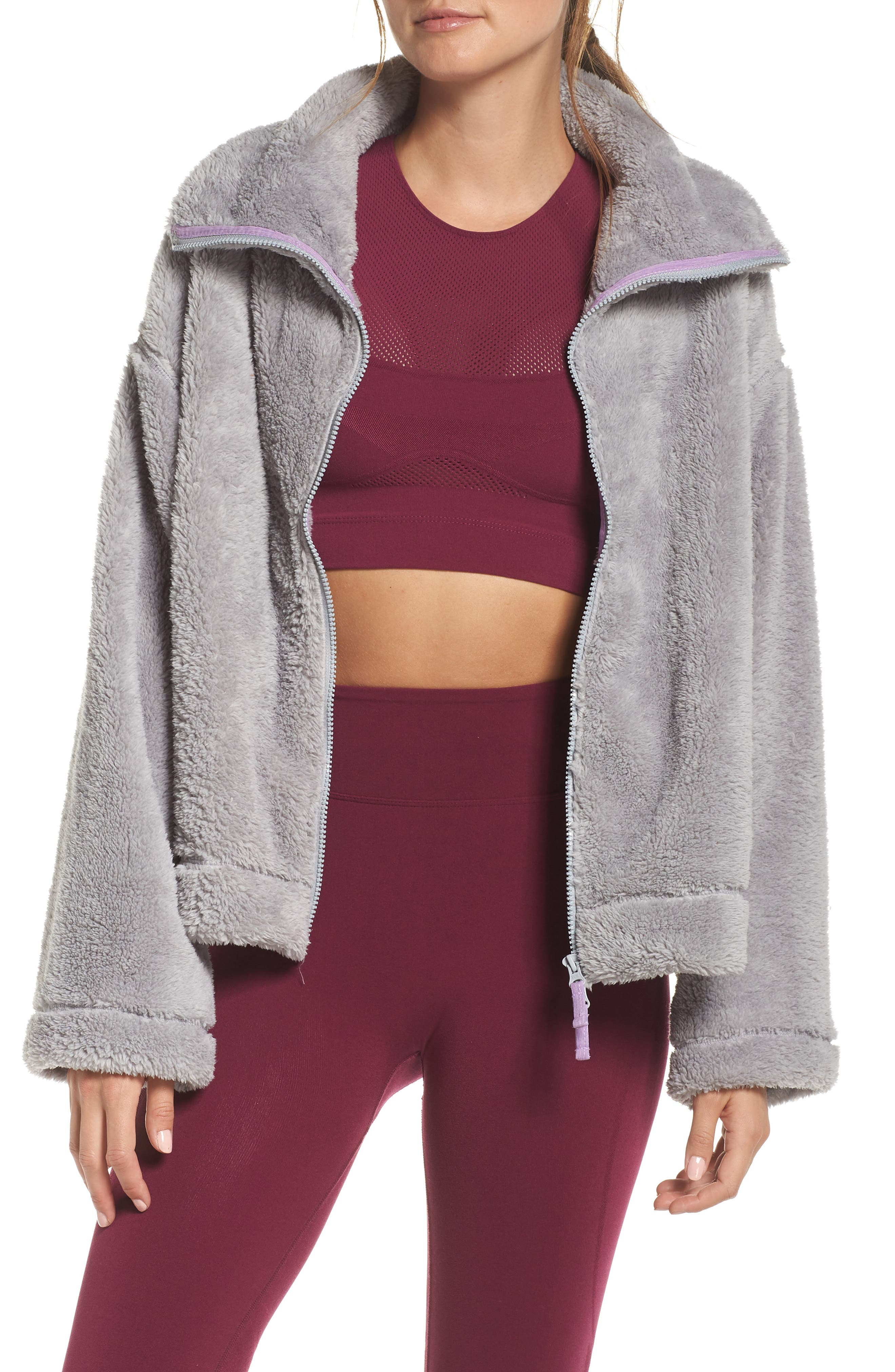 Dazed Fleece Jacket,                             Main thumbnail 1, color,                             GREY