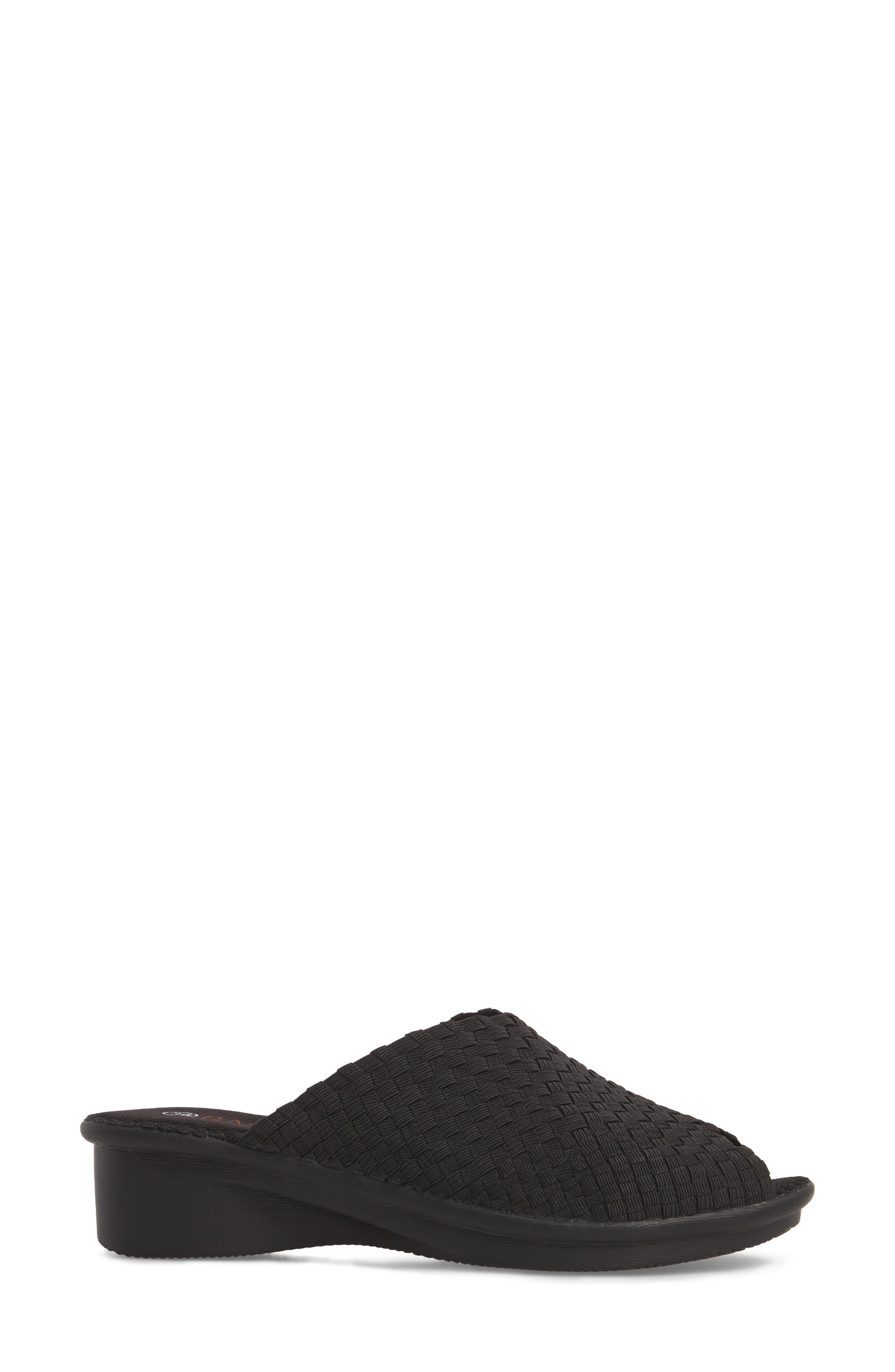 Cyrene Wedge Sandal,                             Alternate thumbnail 3, color,                             BLACK FABRIC