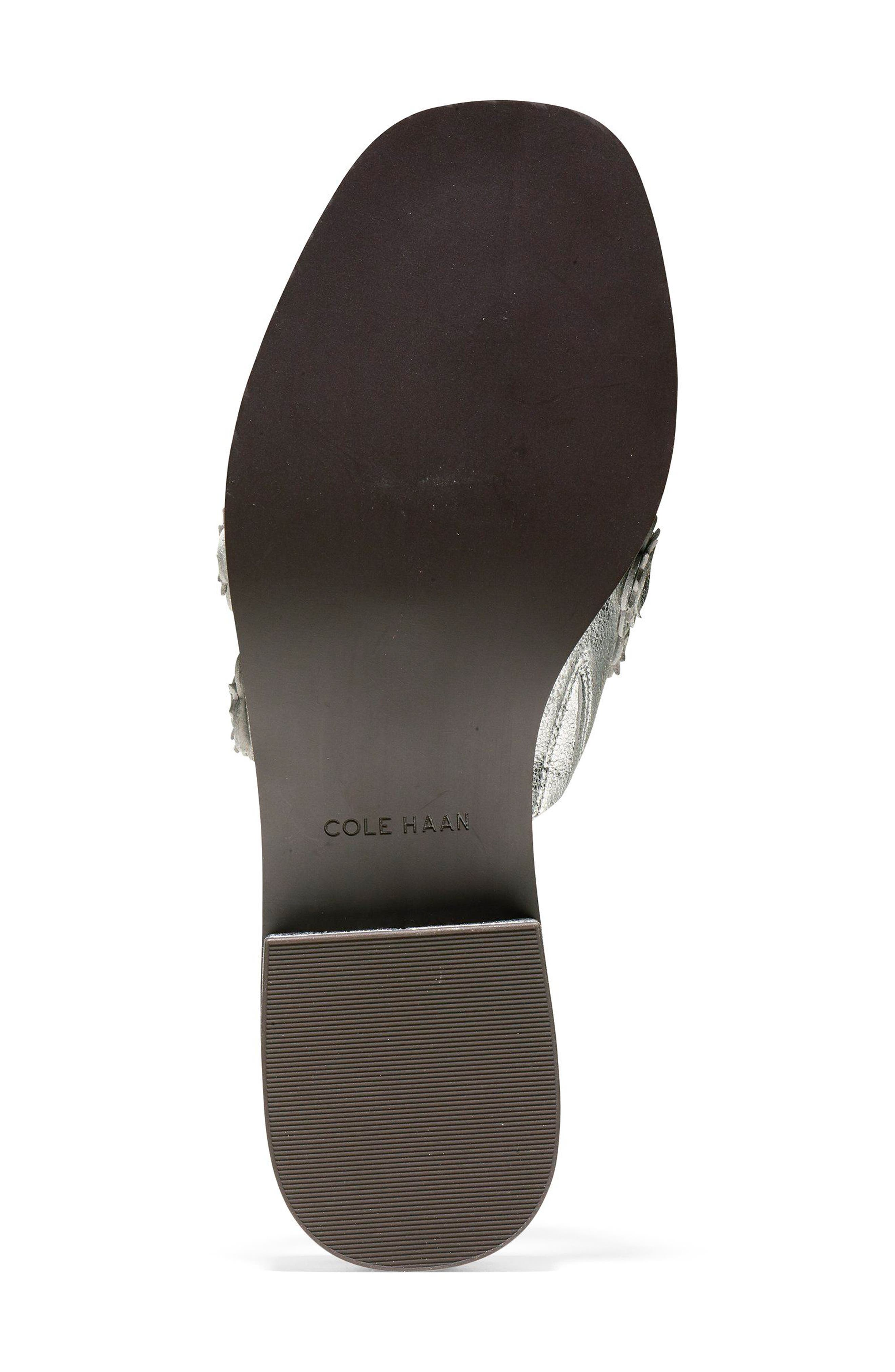 Carly Floral Sandal,                             Alternate thumbnail 6, color,                             SILVER METALLIC LEATHER