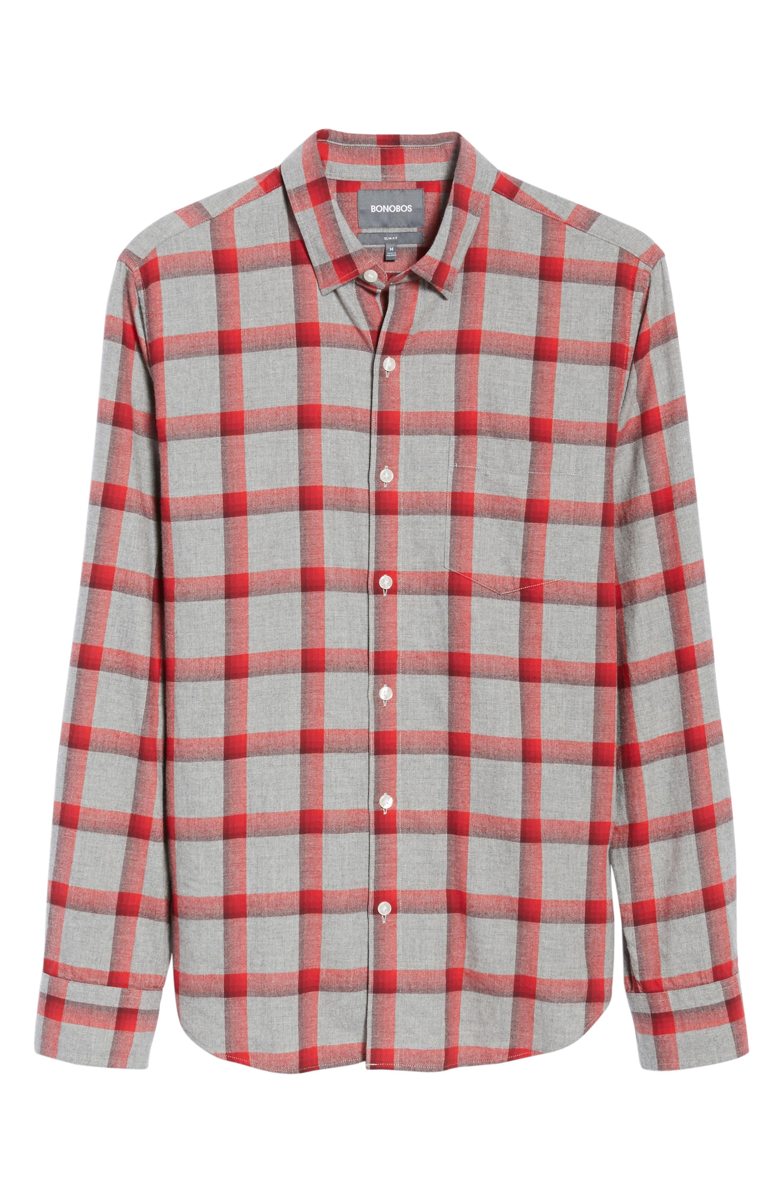 Slim Fit Brushed Check Sport Shirt,                             Alternate thumbnail 6, color,                             020