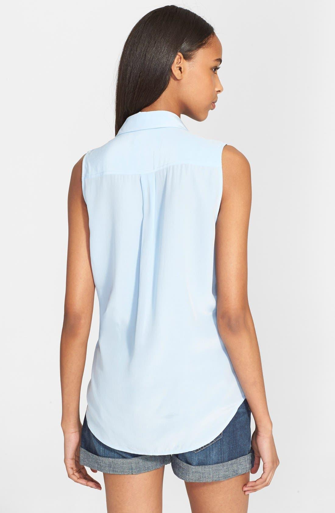 'Slim Signature' Sleeveless Silk Shirt,                             Alternate thumbnail 79, color,