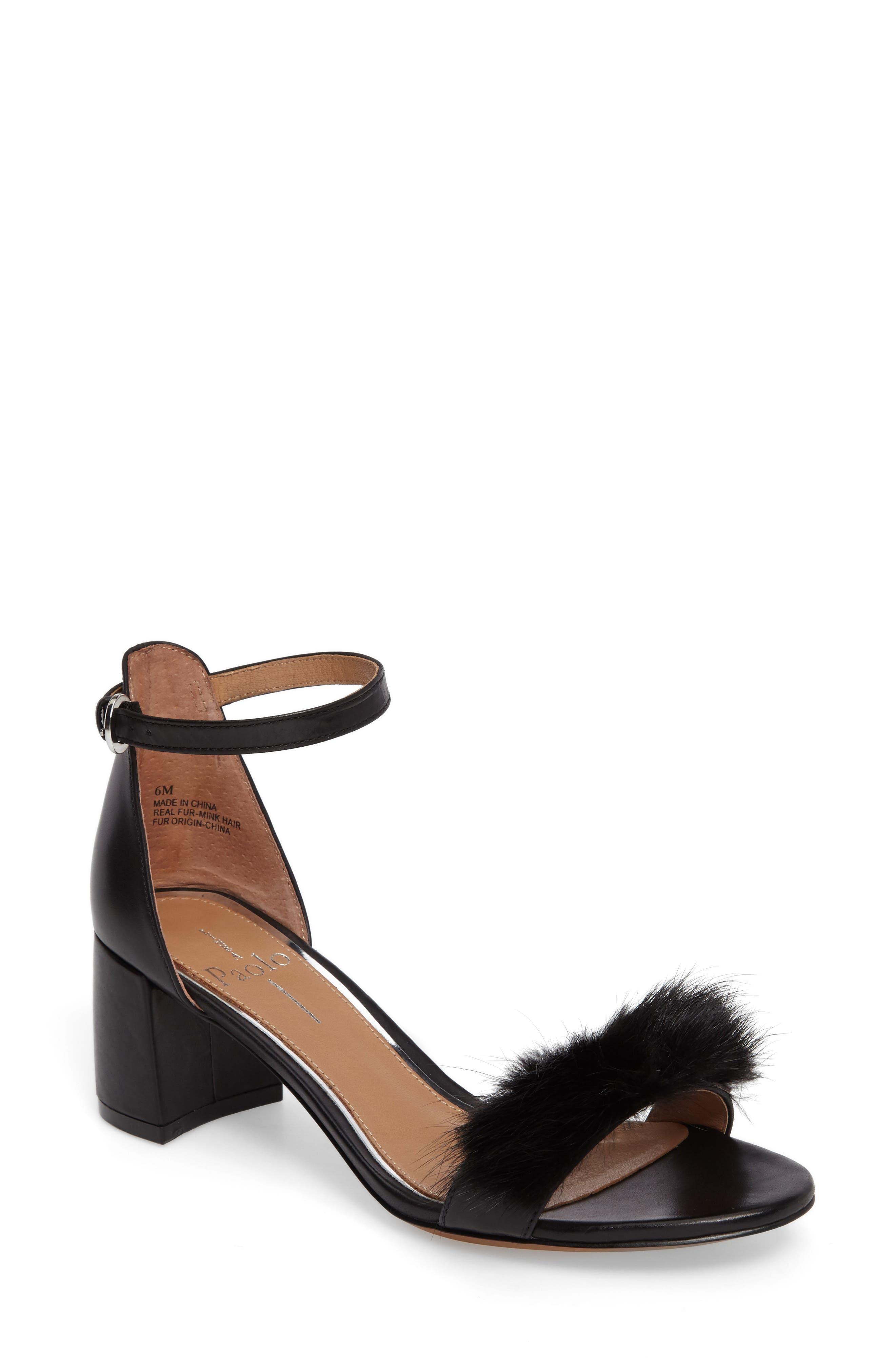 Hepburn Genuine Mink Fur Sandal,                             Main thumbnail 1, color,                             008