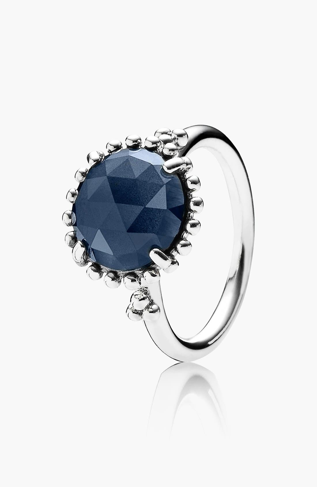 PANDORA,                             'Midnight Star' Stone Ring,                             Main thumbnail 1, color,                             040