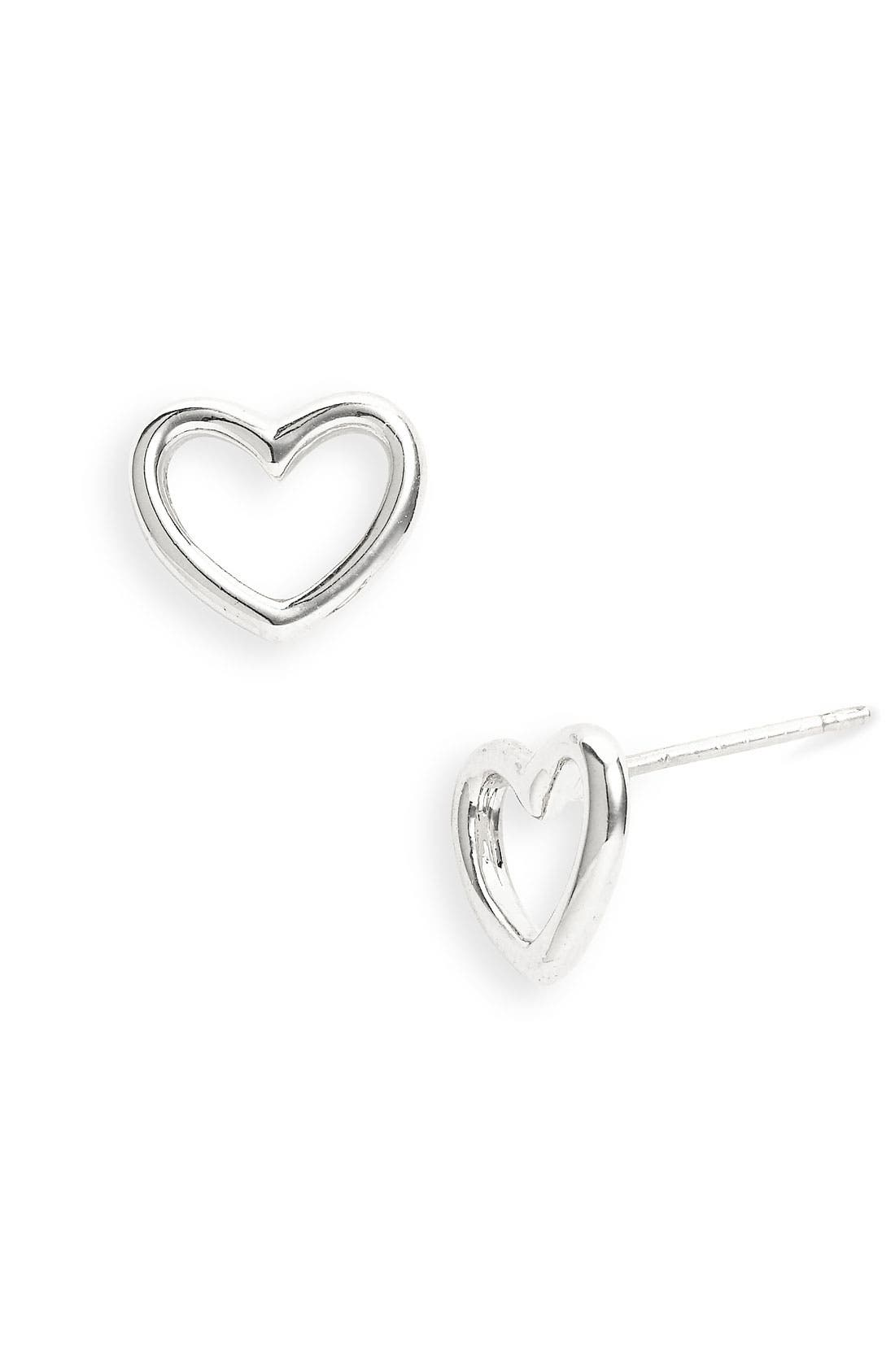 'Love Edge' Heart Stud Earrings,                             Main thumbnail 1, color,                             040