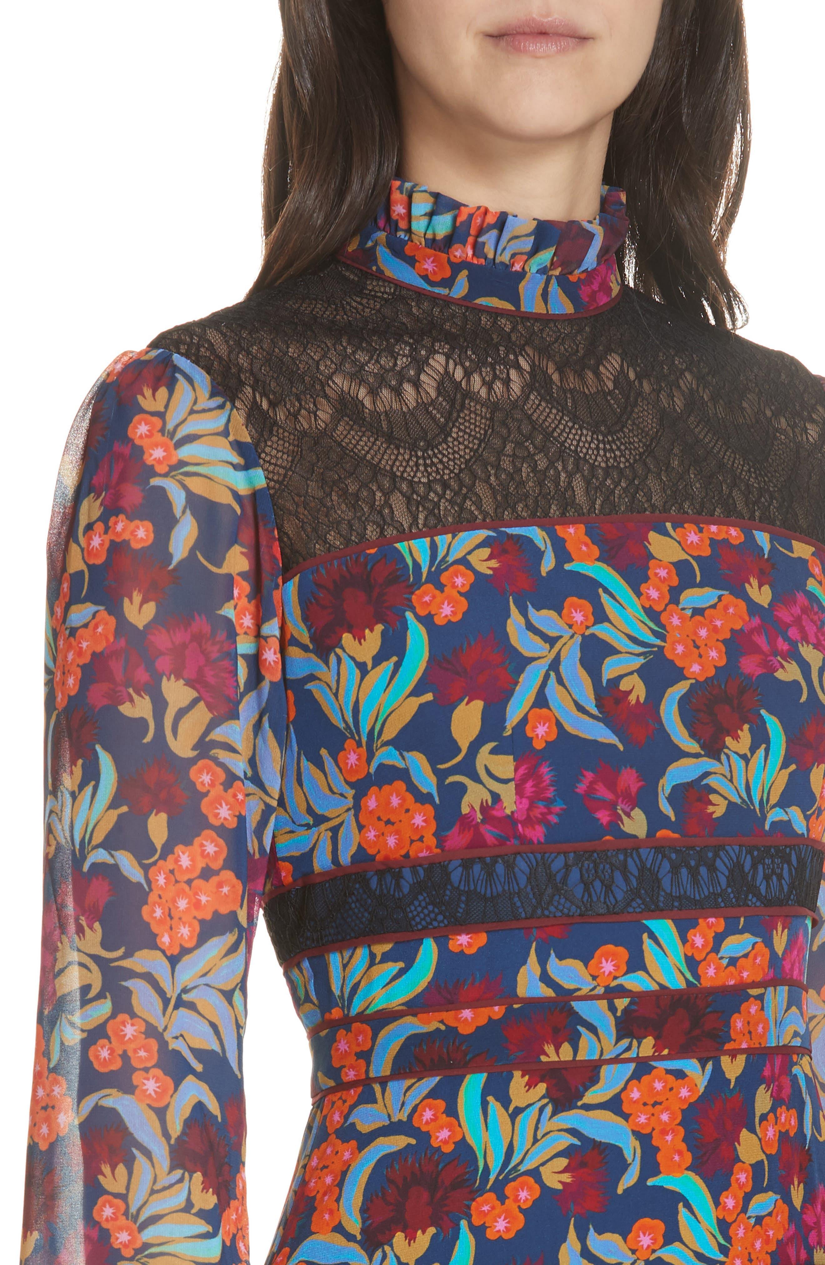 Dina Lace Inset Floral Print Dress,                             Alternate thumbnail 4, color,                             TROPICAL HYDRANGEA