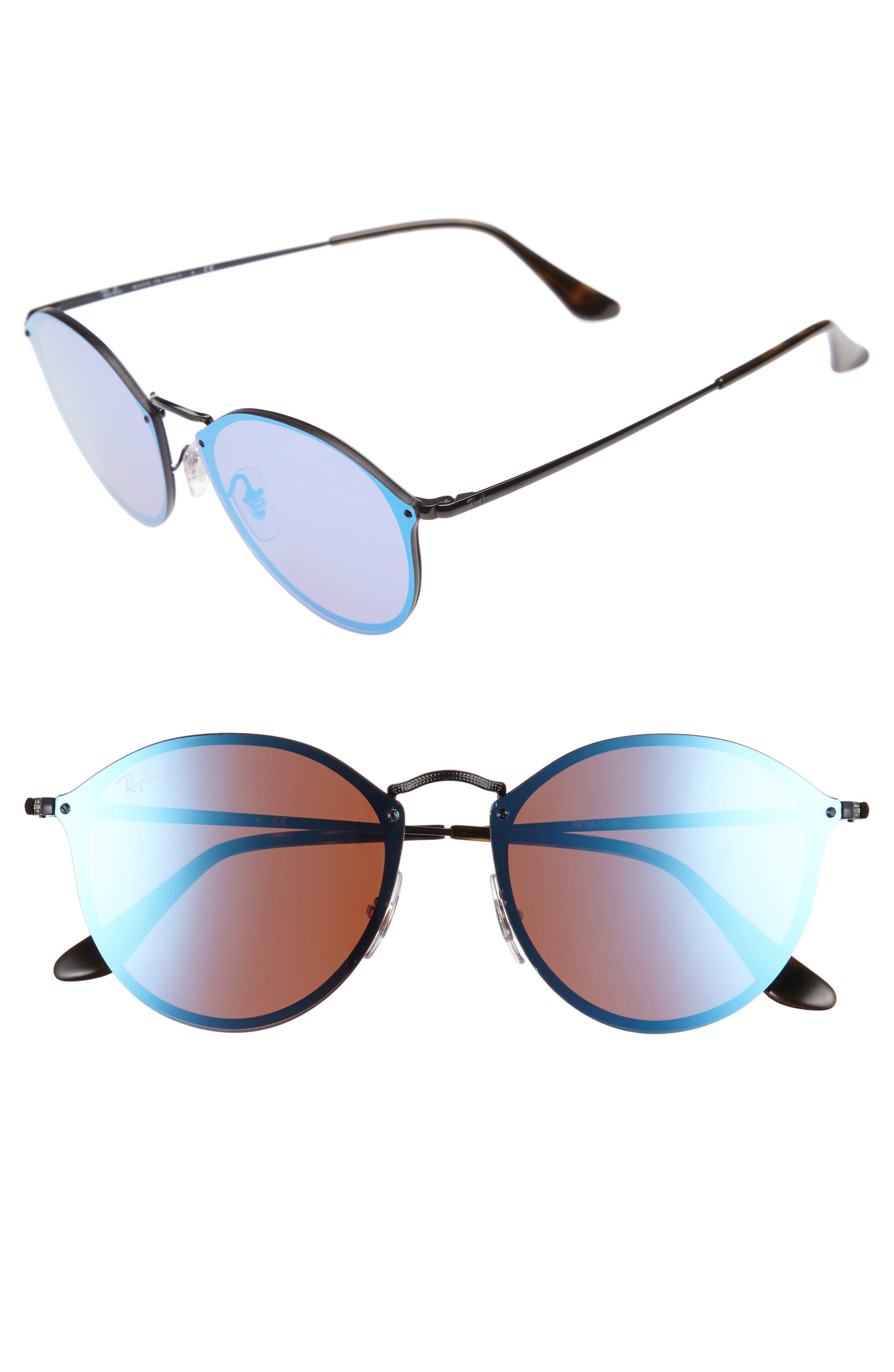 59mm Blaze Round Mirrored Sunglasses,                         Main,                         color, 001