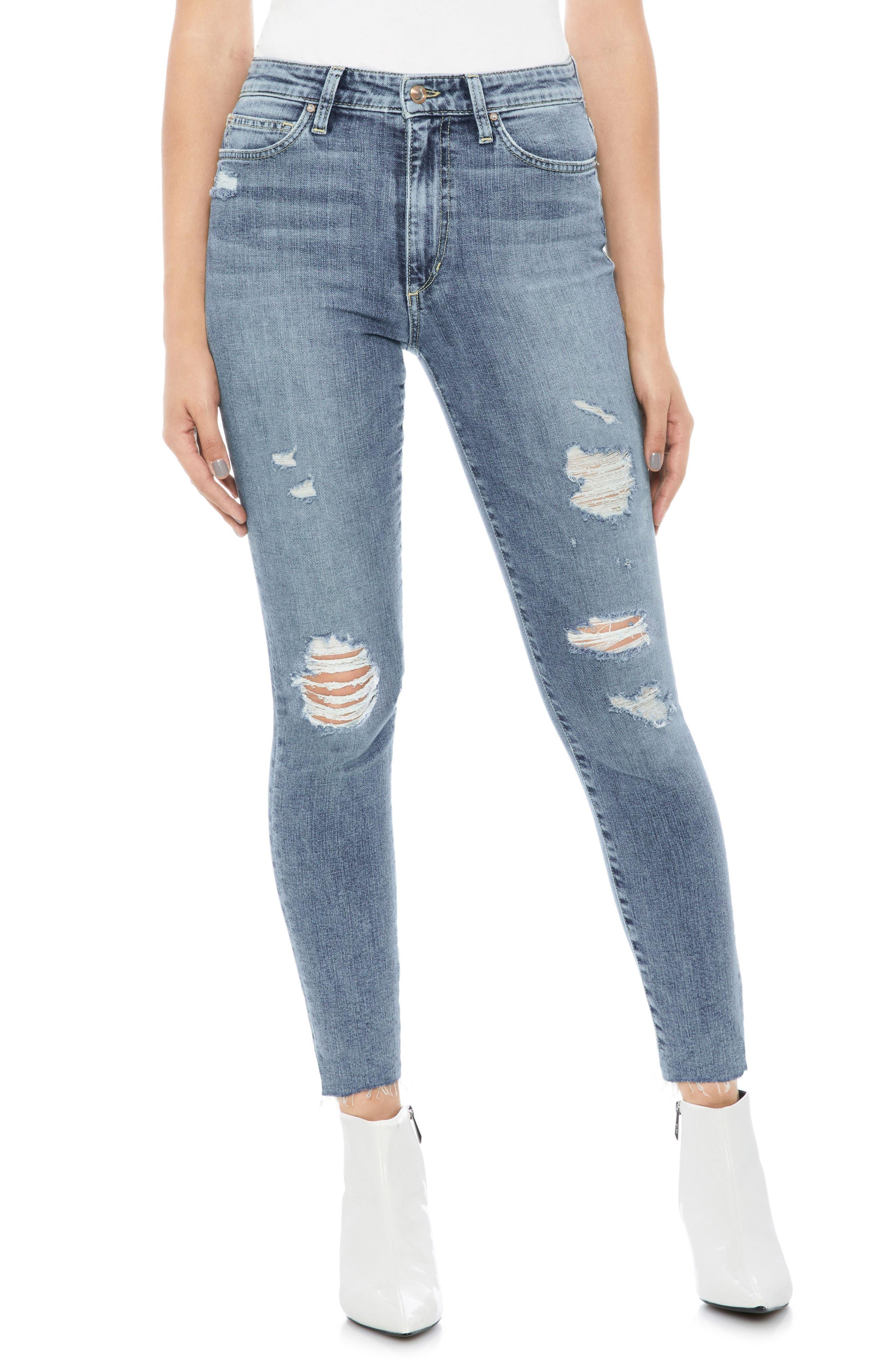 JOE'S Charlie Ripped High Waist Crop Skinny Jeans, Main, color, 450