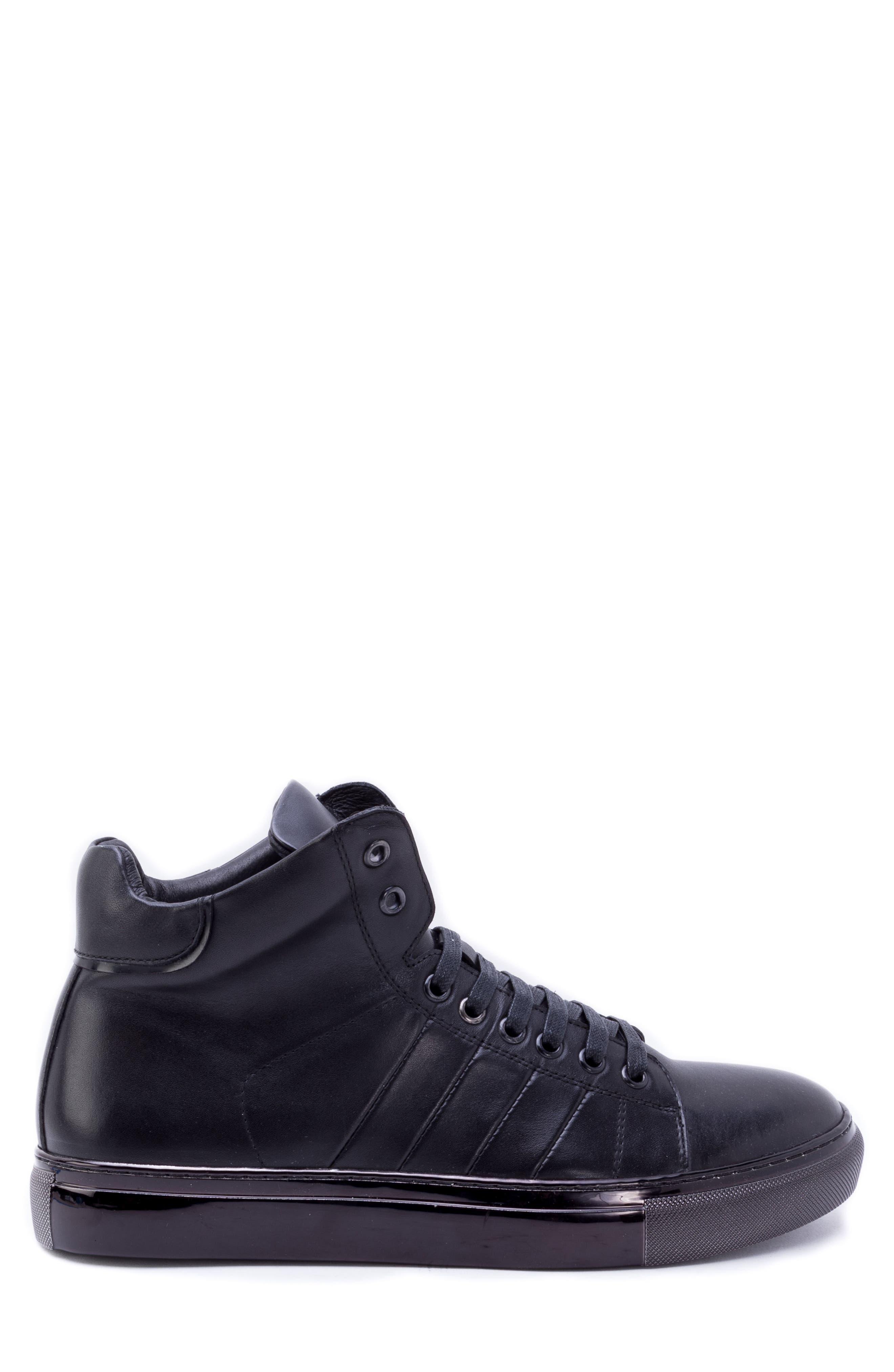 Crosby Sneaker,                             Alternate thumbnail 3, color,                             BLACK LEATHER